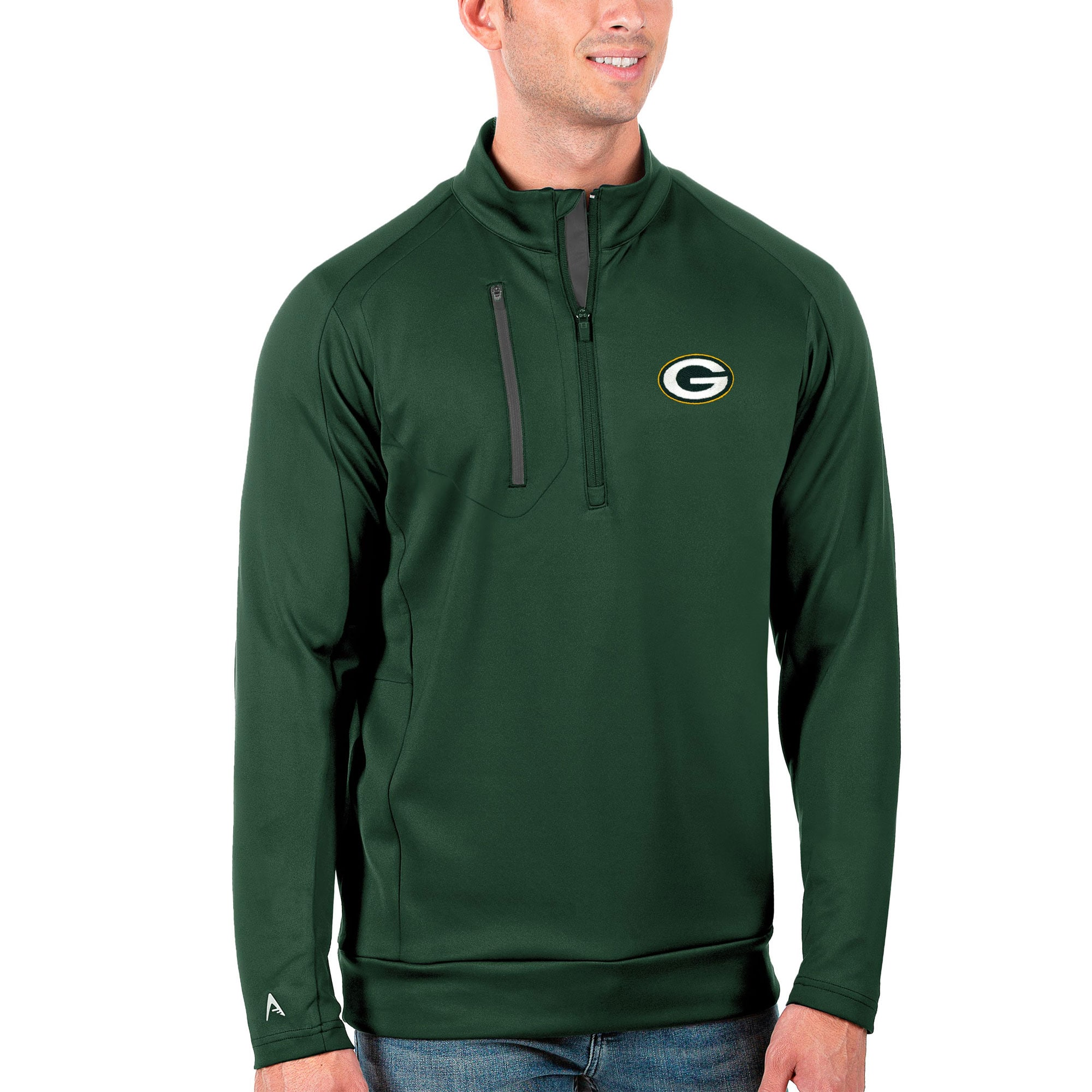 Green Bay Packers Antigua Generation Quarter-Zip Pullover Jacket - Green/Charcoal