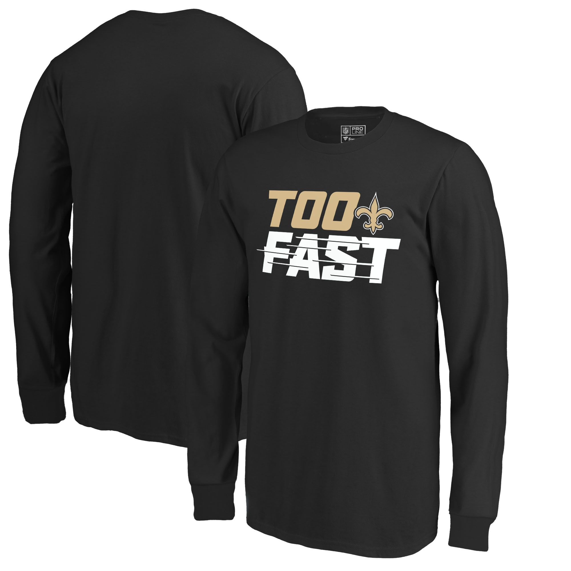 New Orleans Saints Fanatics Branded Youth Too Fast Long Sleeve T-Shirt - Black