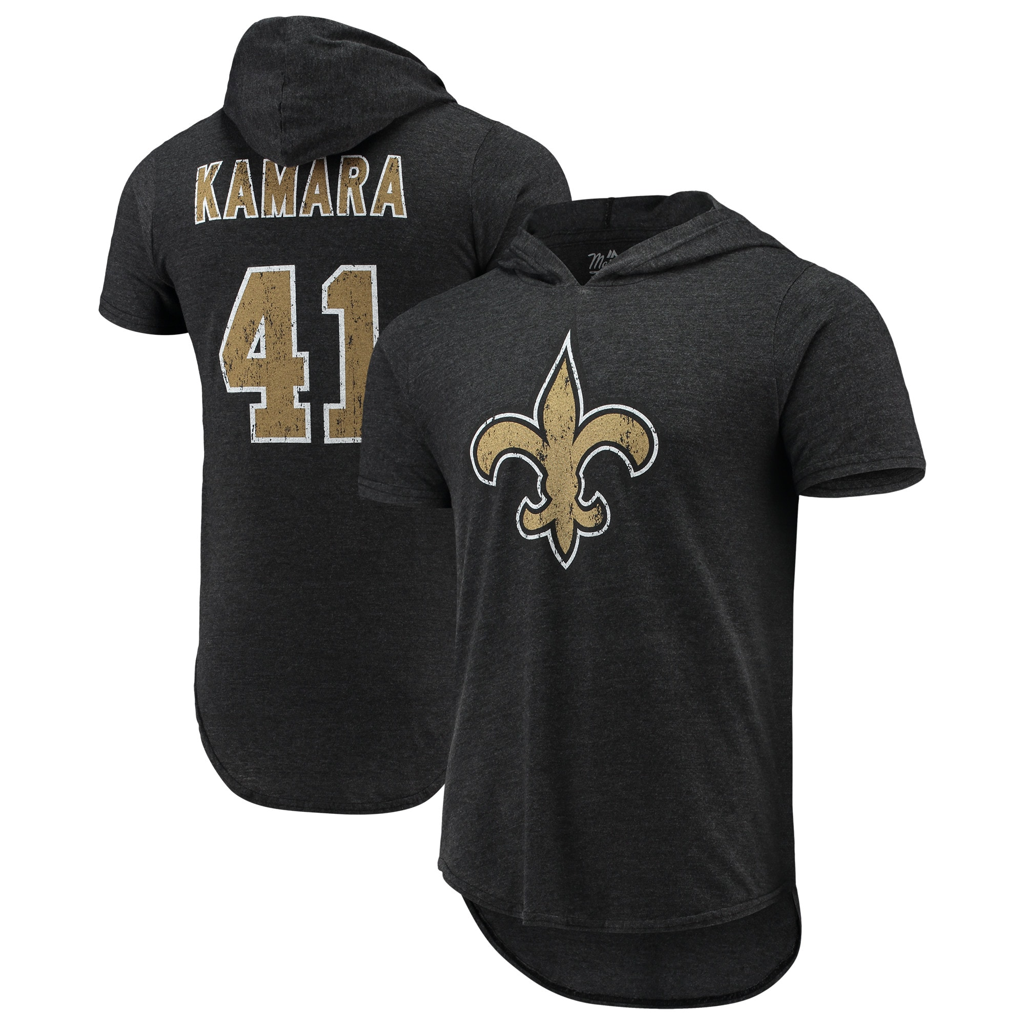 Alvin Kamara New Orleans Saints Fanatics Branded Player Name & Number Tri-Blend Hoodie T-Shirt - Black
