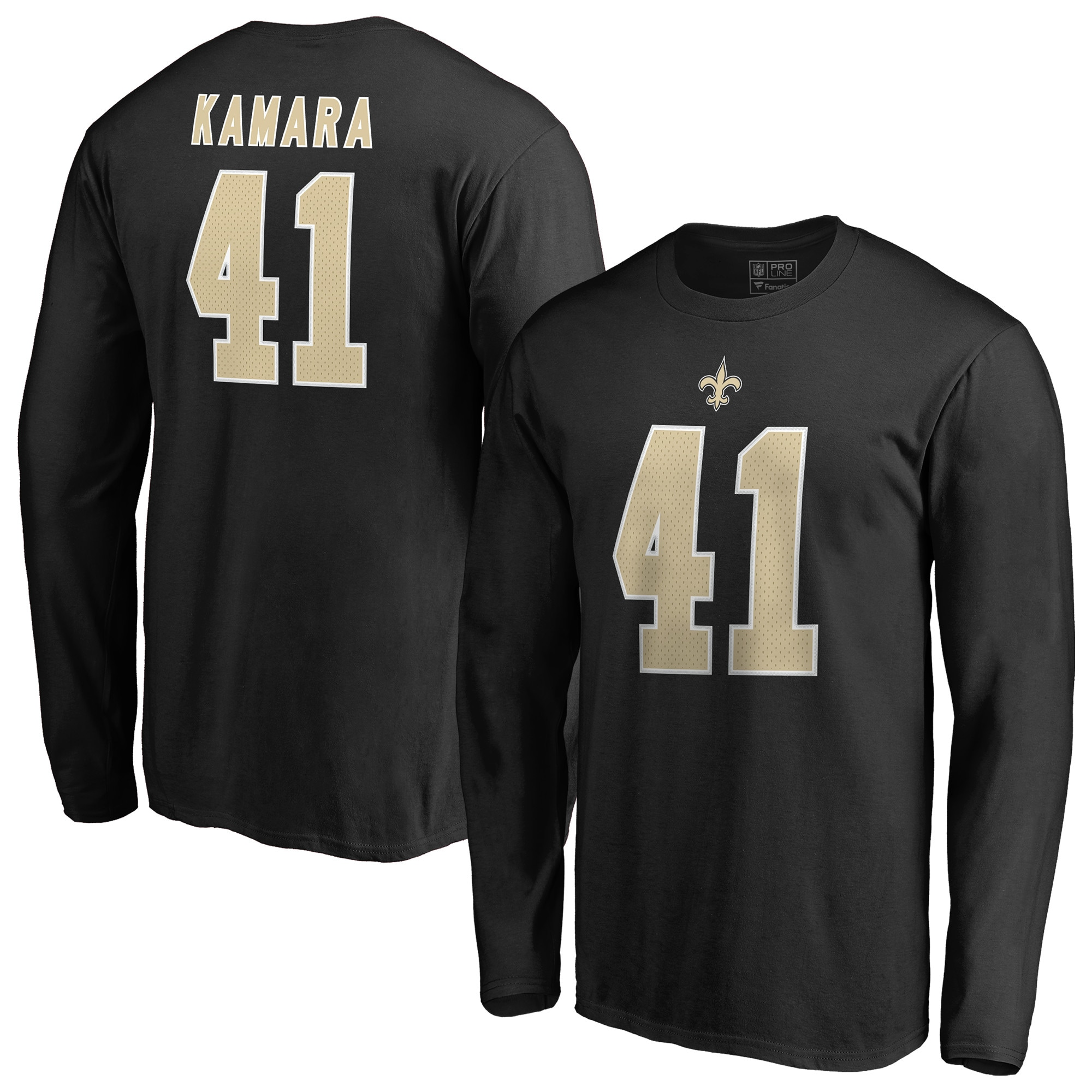 Alvin Kamara New Orleans Saints NFL Pro Line by Fanatics Branded Team Authentic Stack Name & Number Long Sleeve T-Shirt - Black