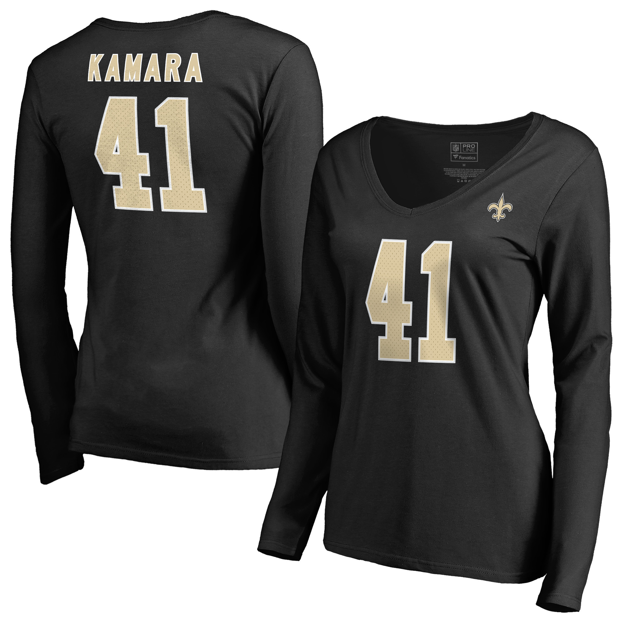 Alvin Kamara New Orleans Saints NFL Pro Line by Fanatics Branded Women's Authentic Stack Name & Number V-Neck Long Sleeve T-Shirt - Black