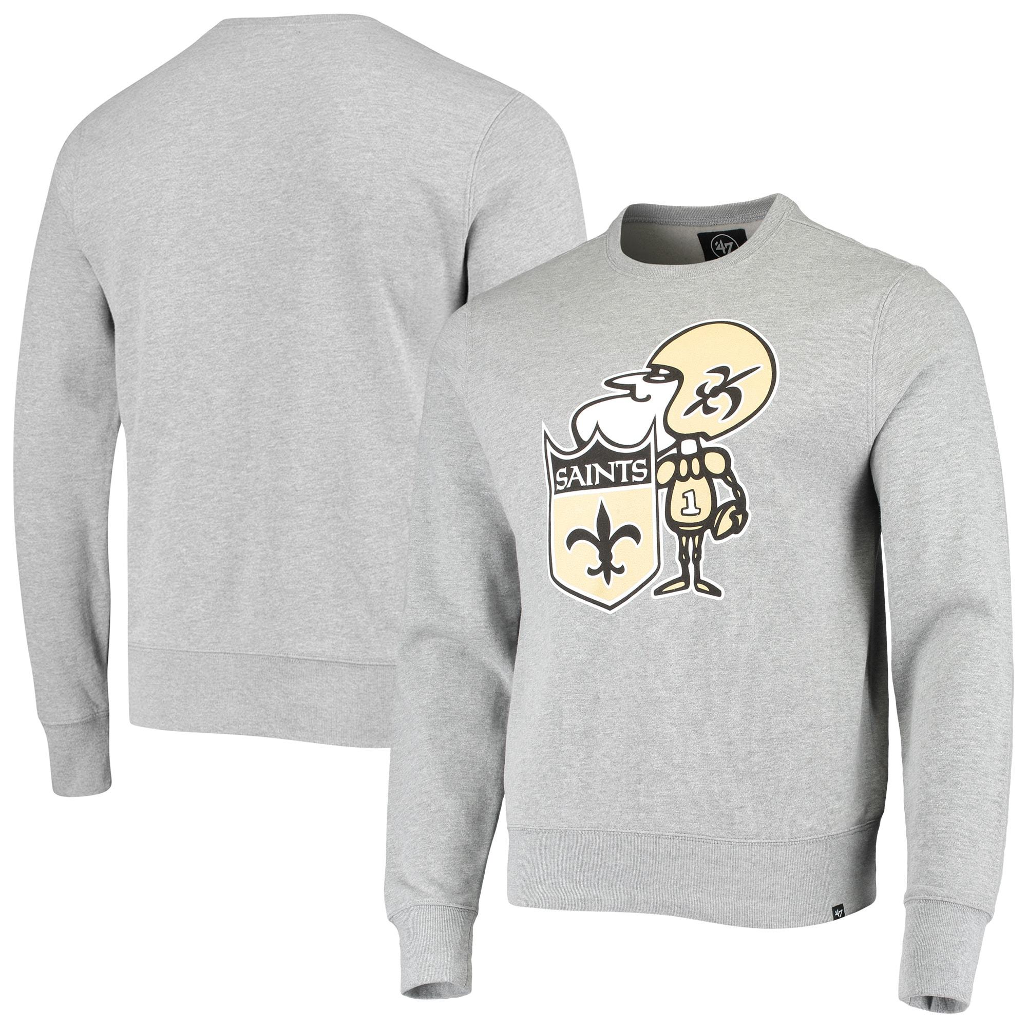 New Orleans Saints '47 Imprint Headline Historic Logo Fleece Pullover Sweatshirt - Heathered Gray