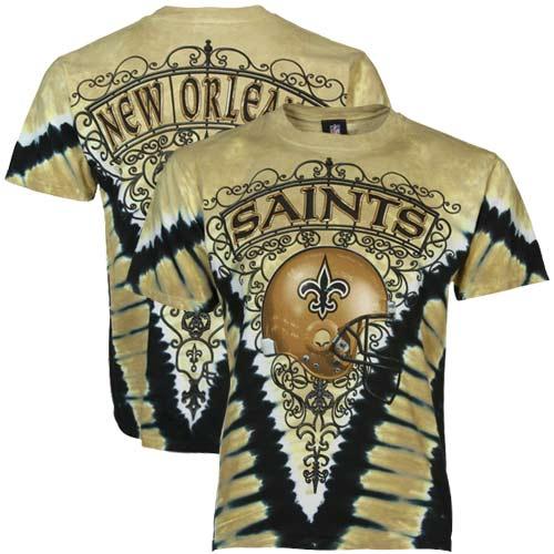 New Orleans Saints Majestic V Tie-Dye T-Shirt - Vegas Gold/Black
