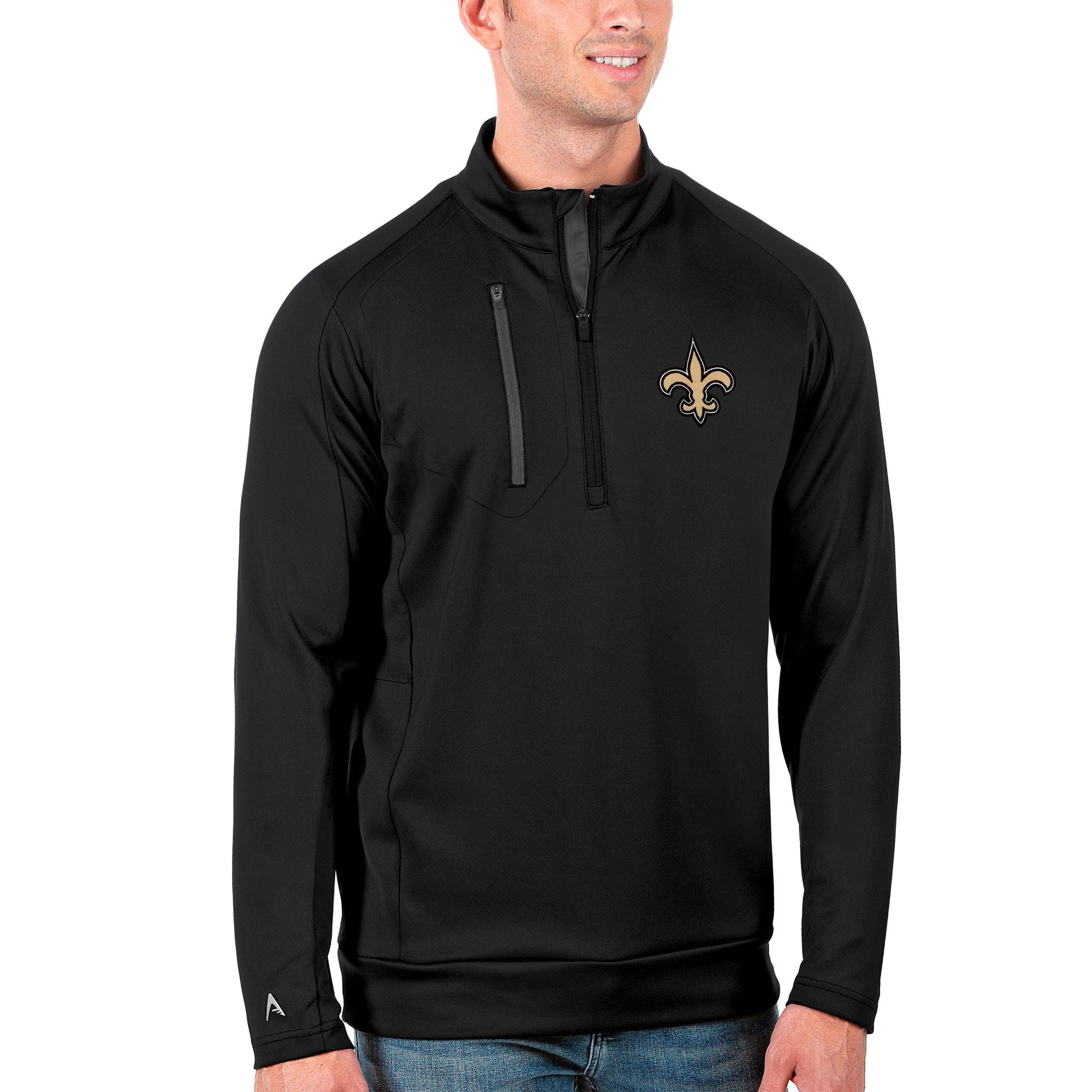 New Orleans Saints Antigua Generation Quarter-Zip Pullover Jacket - Black/Charcoal