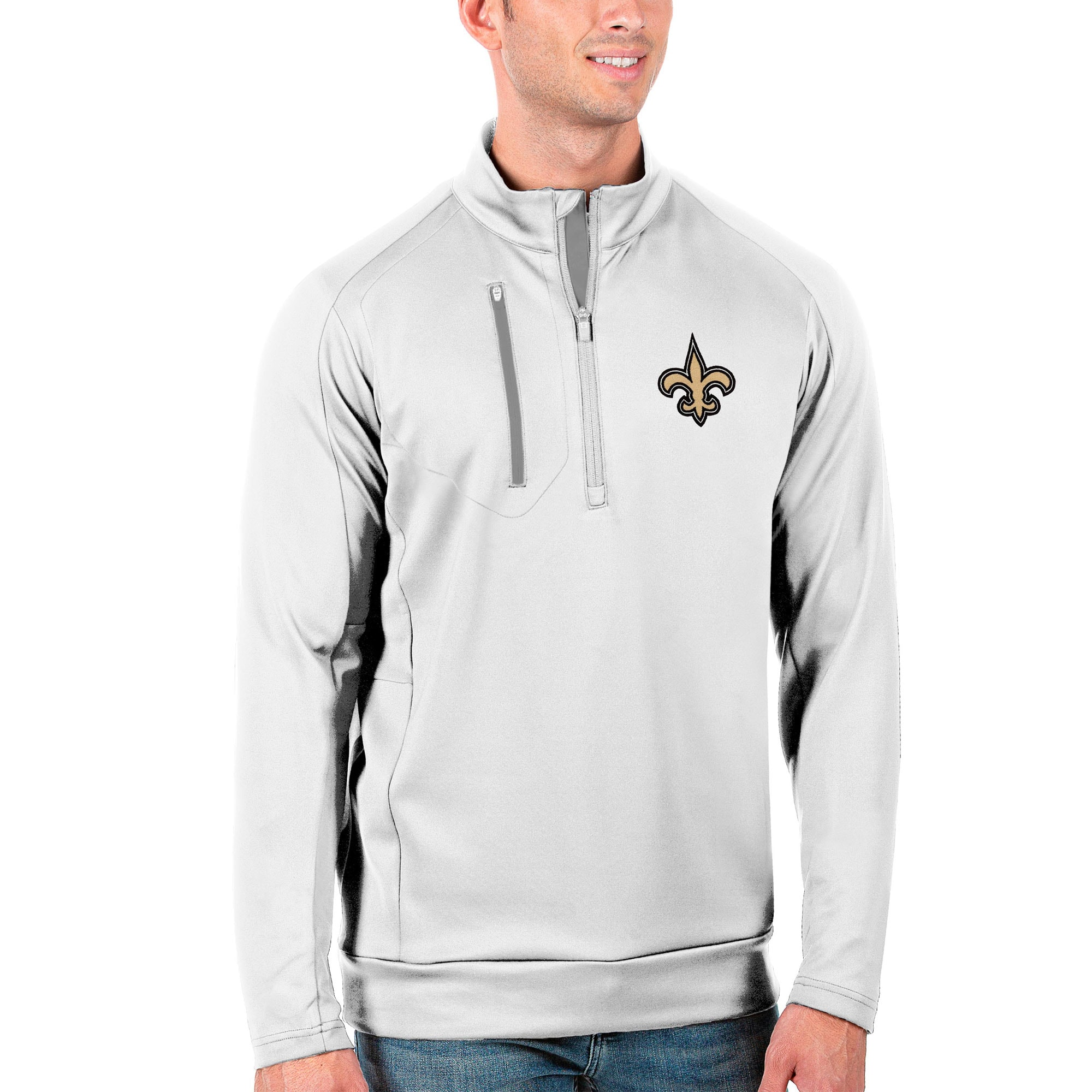 New Orleans Saints Antigua Generation Quarter-Zip Pullover Jacket - White/Silver