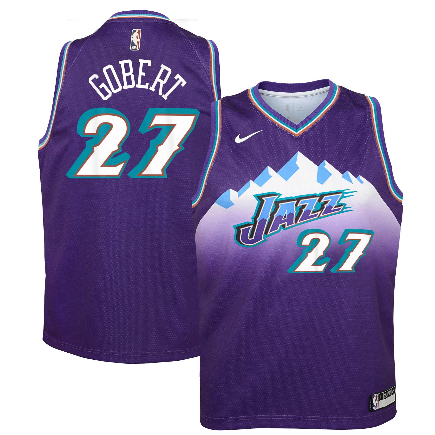 Rudy Gobert Utah Jazz Nike Youth Hardwood Classics Swingman Jersey - Purple