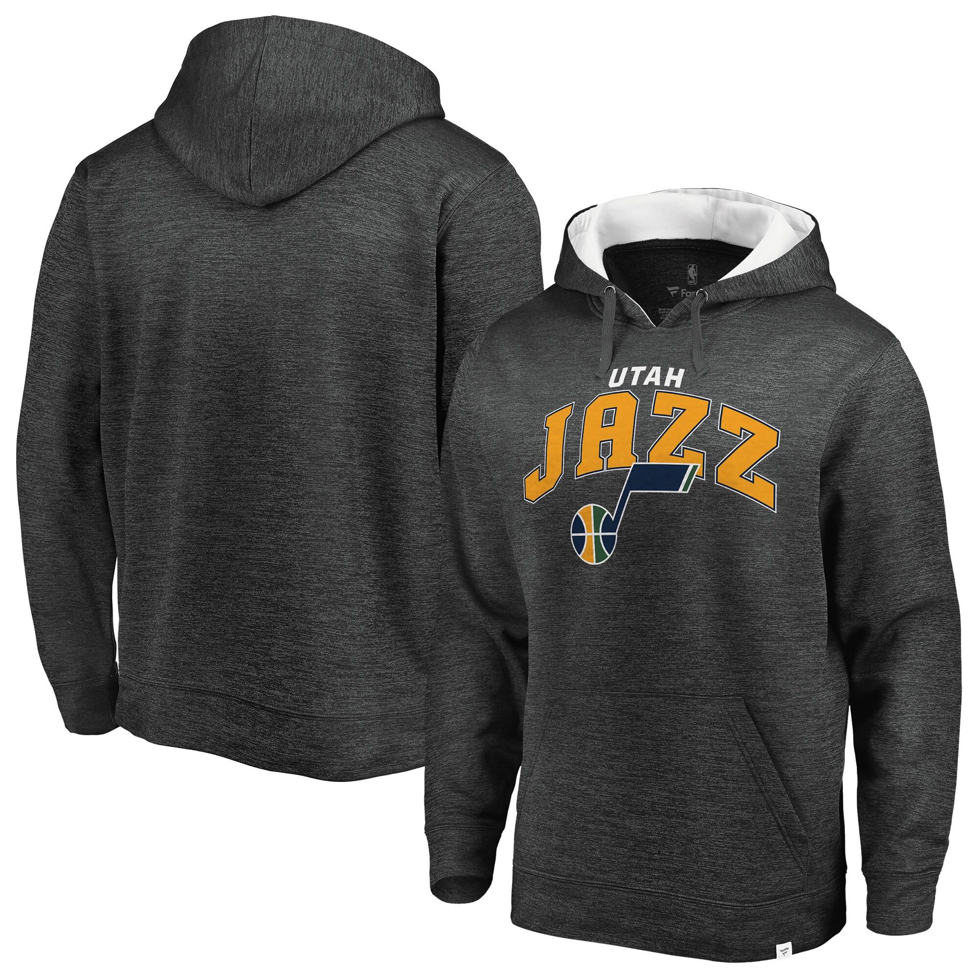 Utah Jazz Fanatics Branded Big & Tall Steady Fleece Pullover Hoodie - Heathered Gray/White