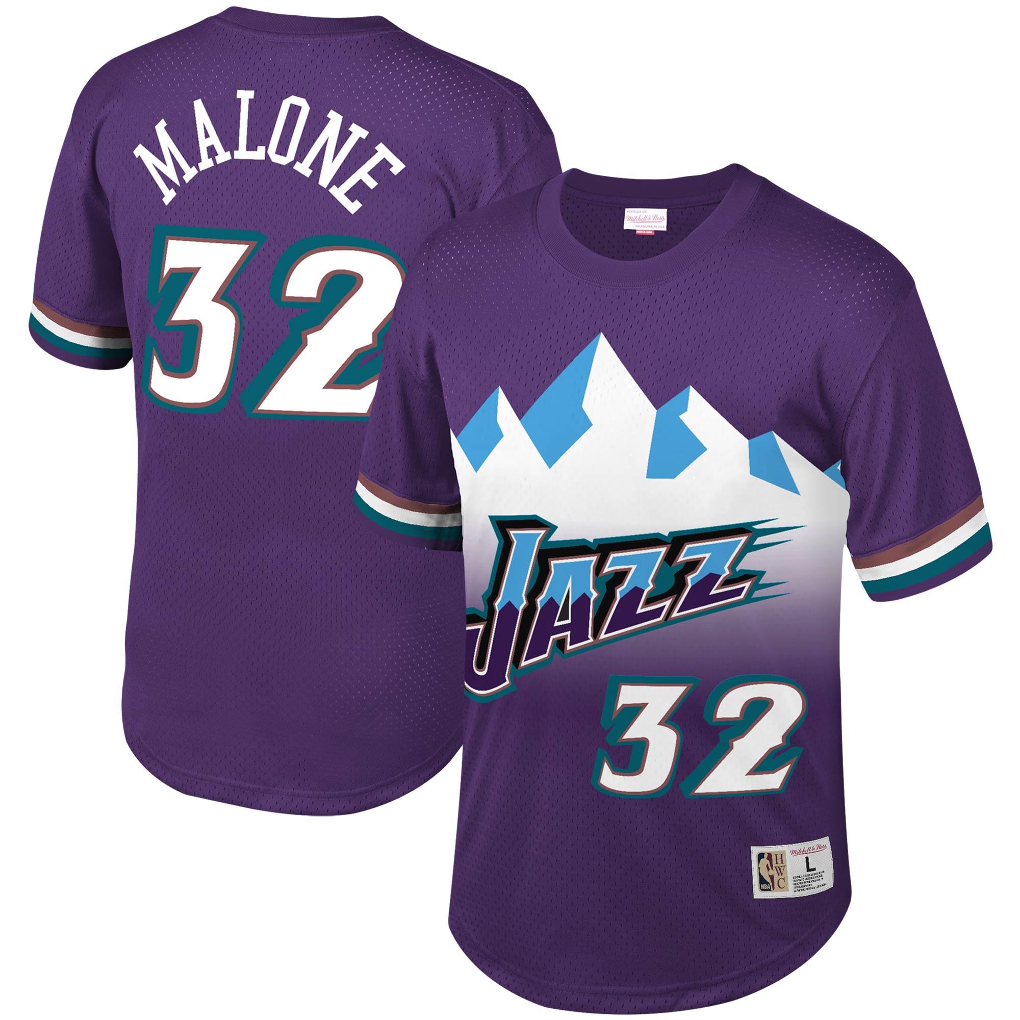Karl Malone Utah Jazz Mitchell & Ness Mesh T-Shirt - Purple
