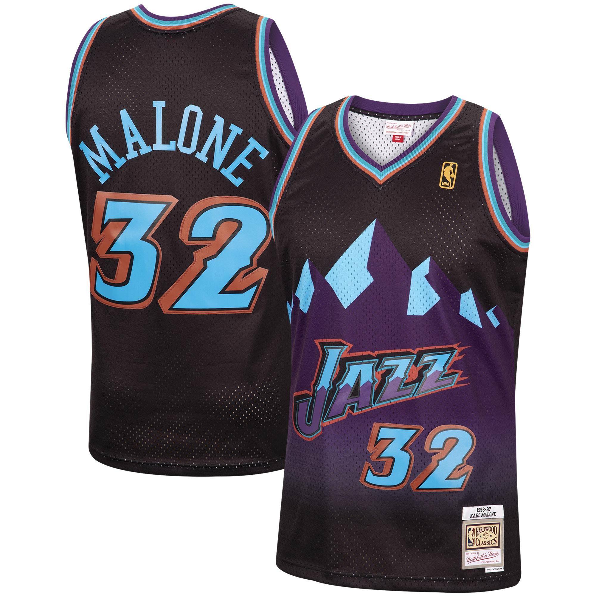 Karl Malone Utah Jazz Mitchell & Ness 1996-97 Hardwood Classics Reload Swingman Jersey - Black