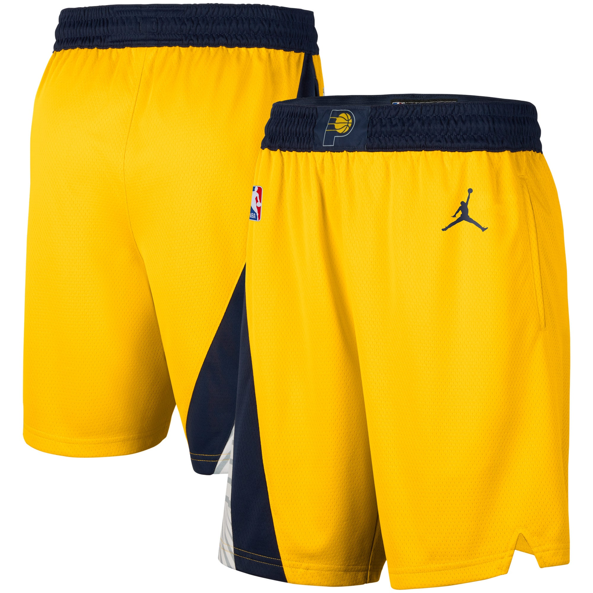 Indiana Pacers Jordan Brand 2020/2021 Association Edition Swingman Shorts - Gold/Navy