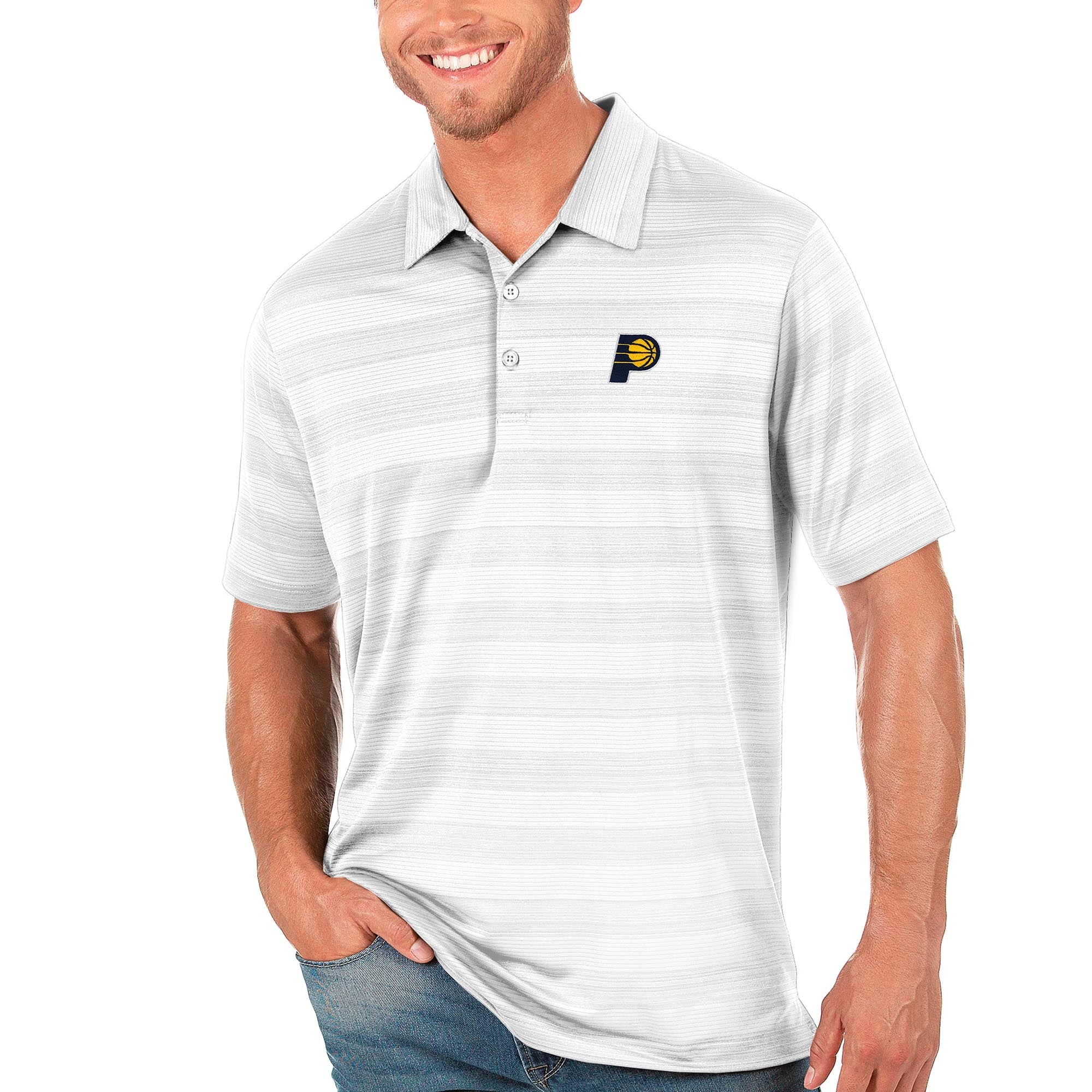 Indiana Pacers Antigua Compass Polo - White