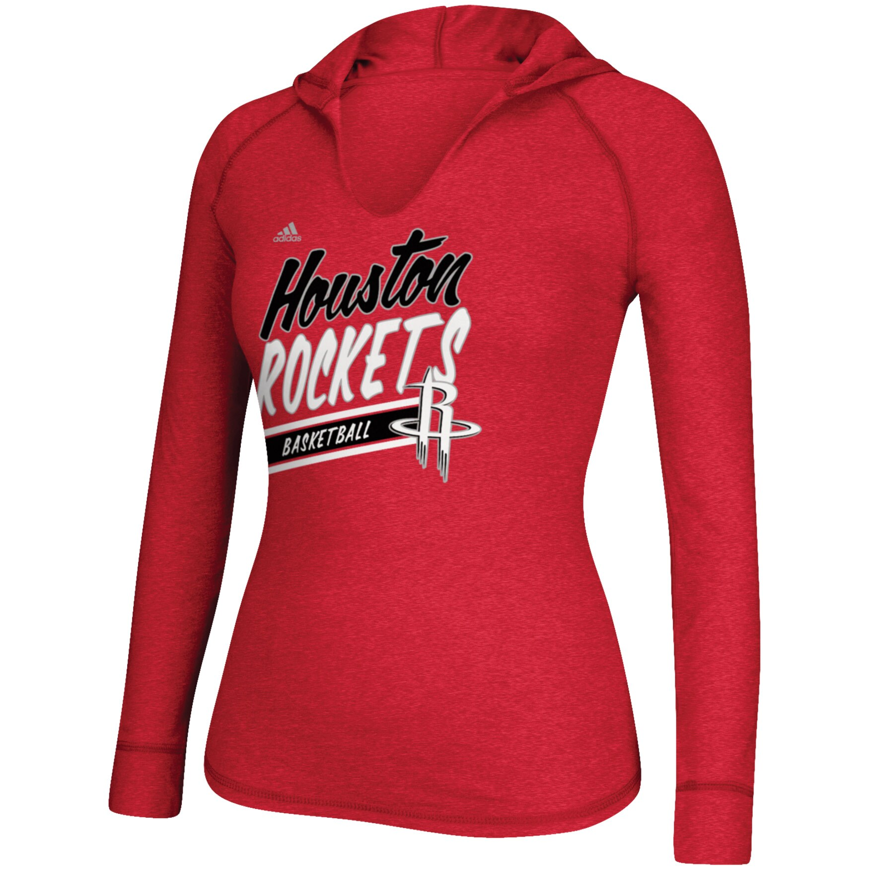 Houston Rockets adidas Women's Stripe Slant Long Sleeve Hoodie T-Shirt - Red