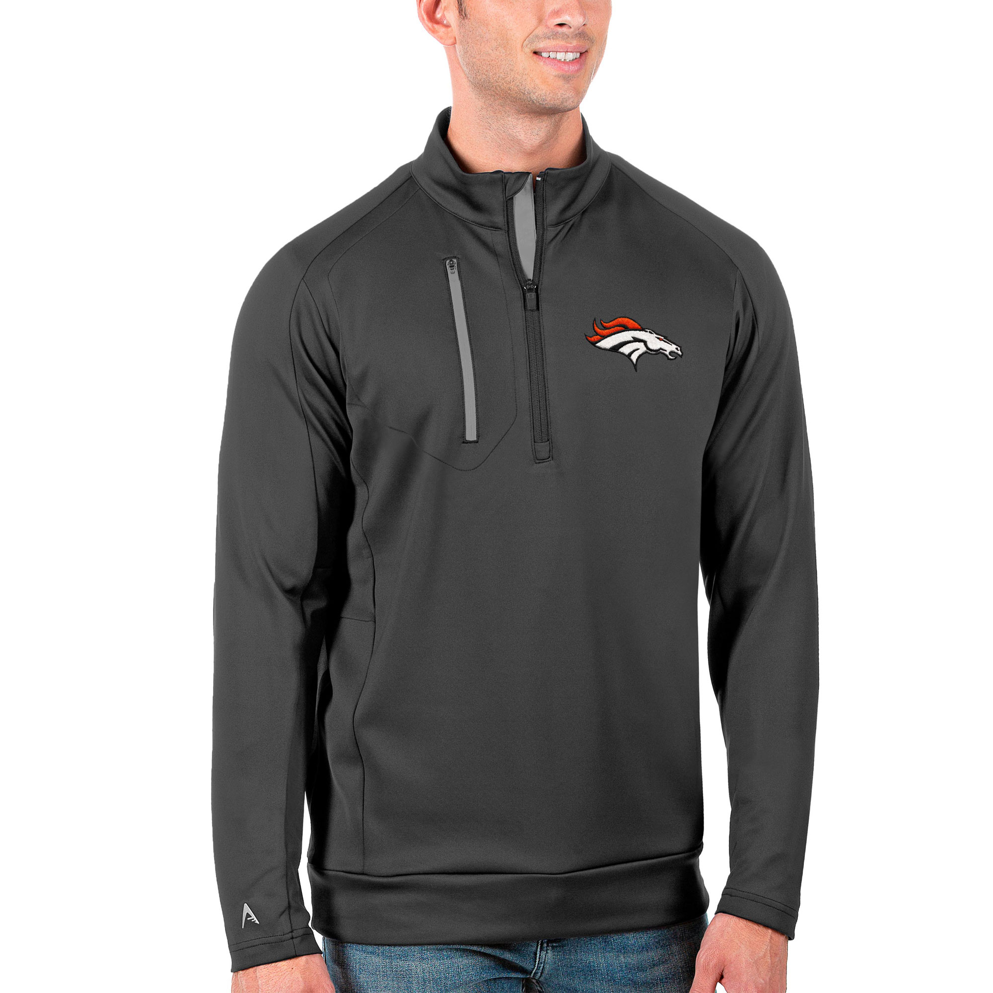 Denver Broncos Antigua Generation Quarter-Zip Pullover Jacket - Charcoal/Silver