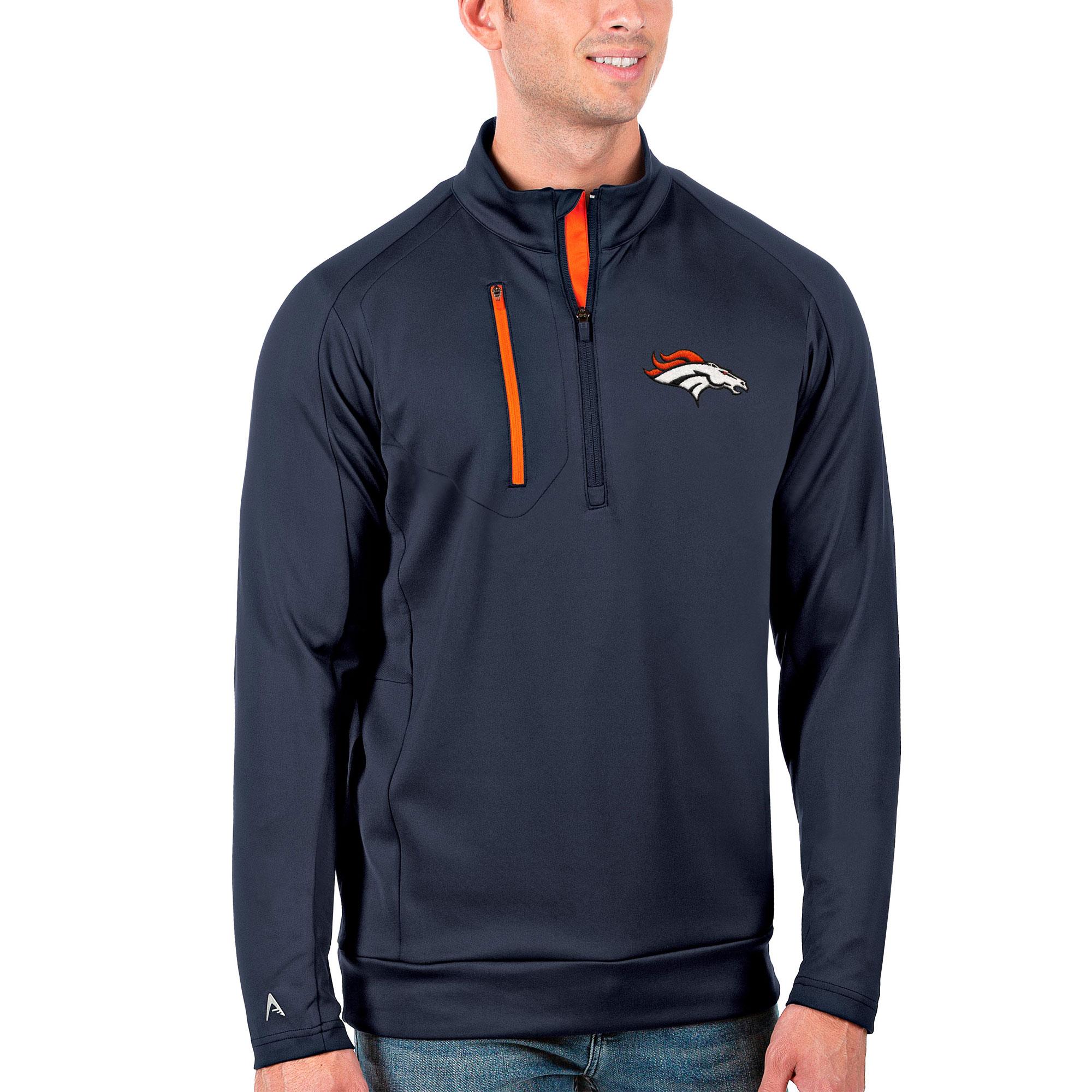 Denver Broncos Antigua Generation Quarter-Zip Pullover Jacket - Navy/Orange