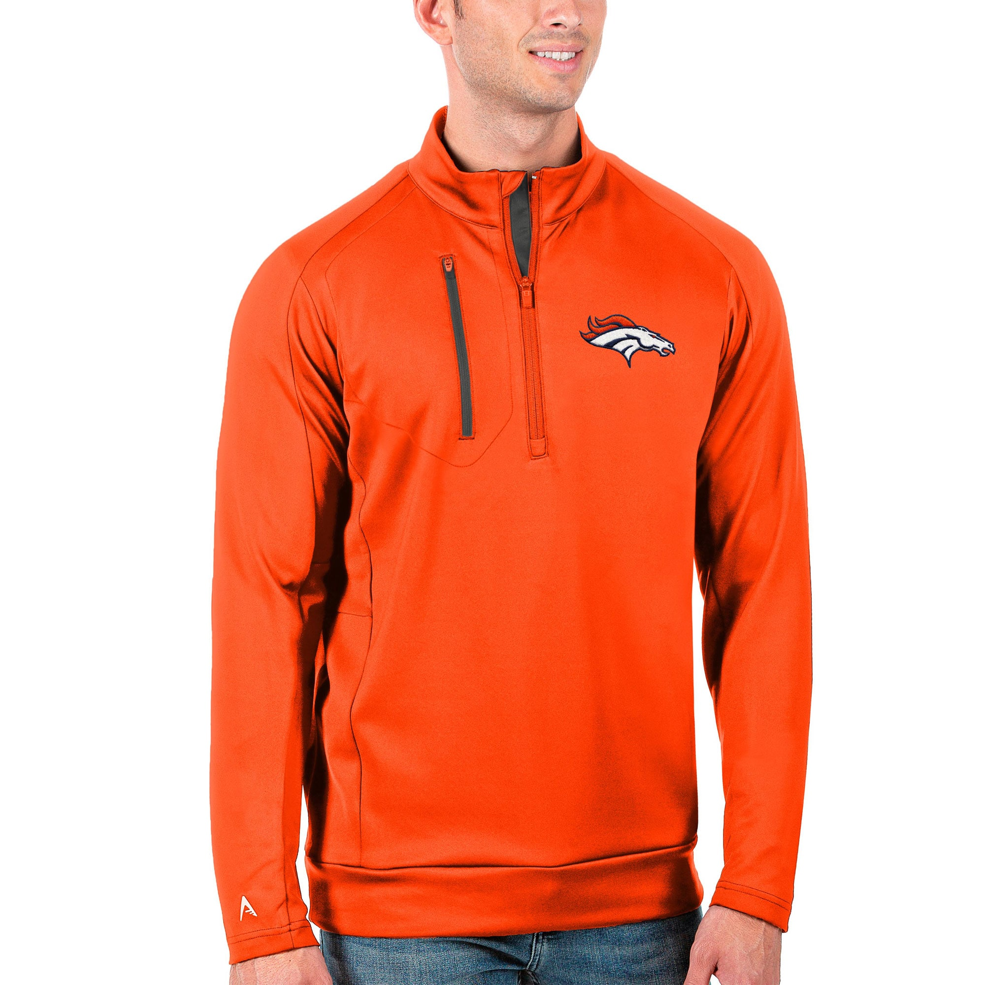 Denver Broncos Antigua Generation Quarter-Zip Pullover Jacket - Orange/Charcoal