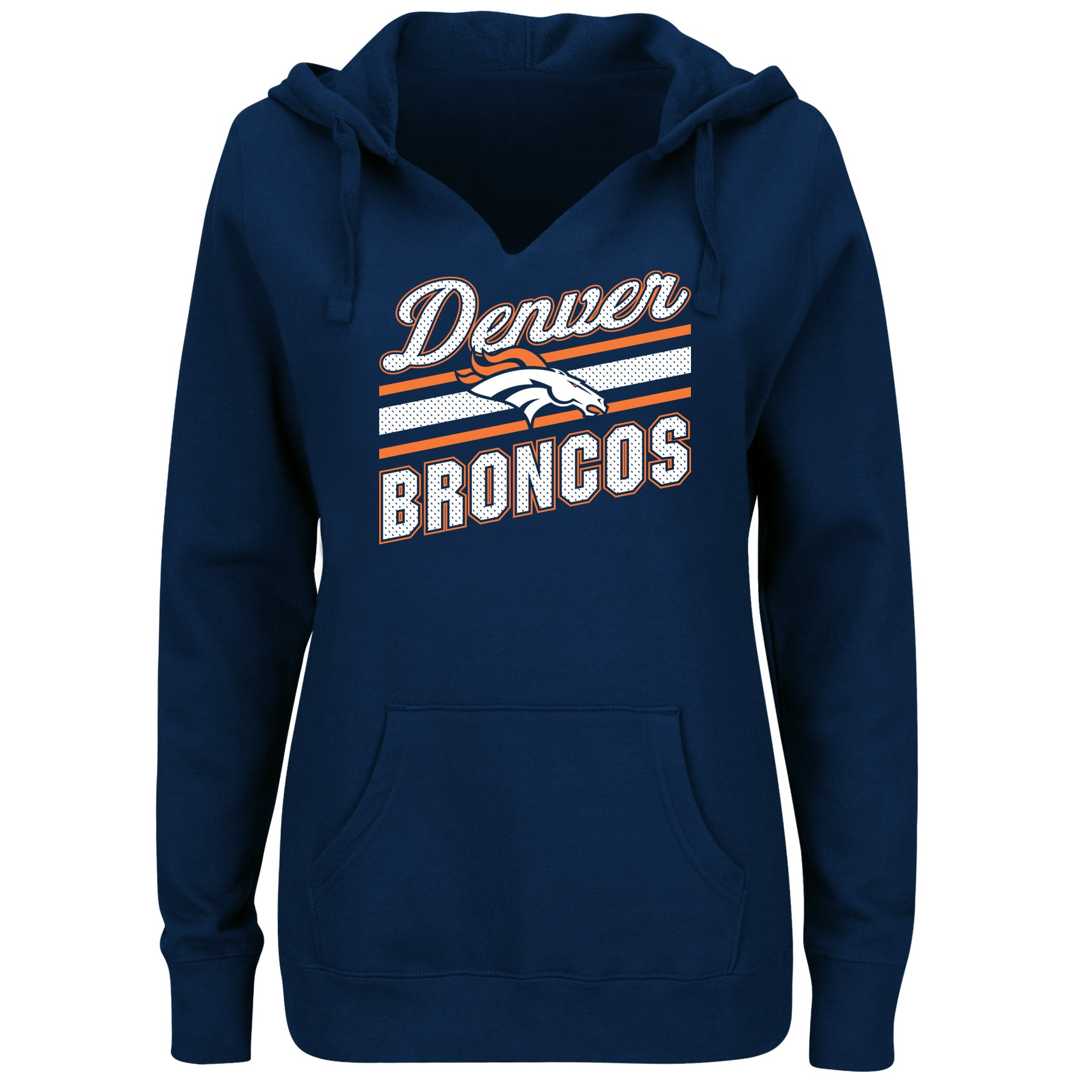 Denver Broncos Majestic Women's Plus Size Logo V-Notch Pullover Hoodie - Navy