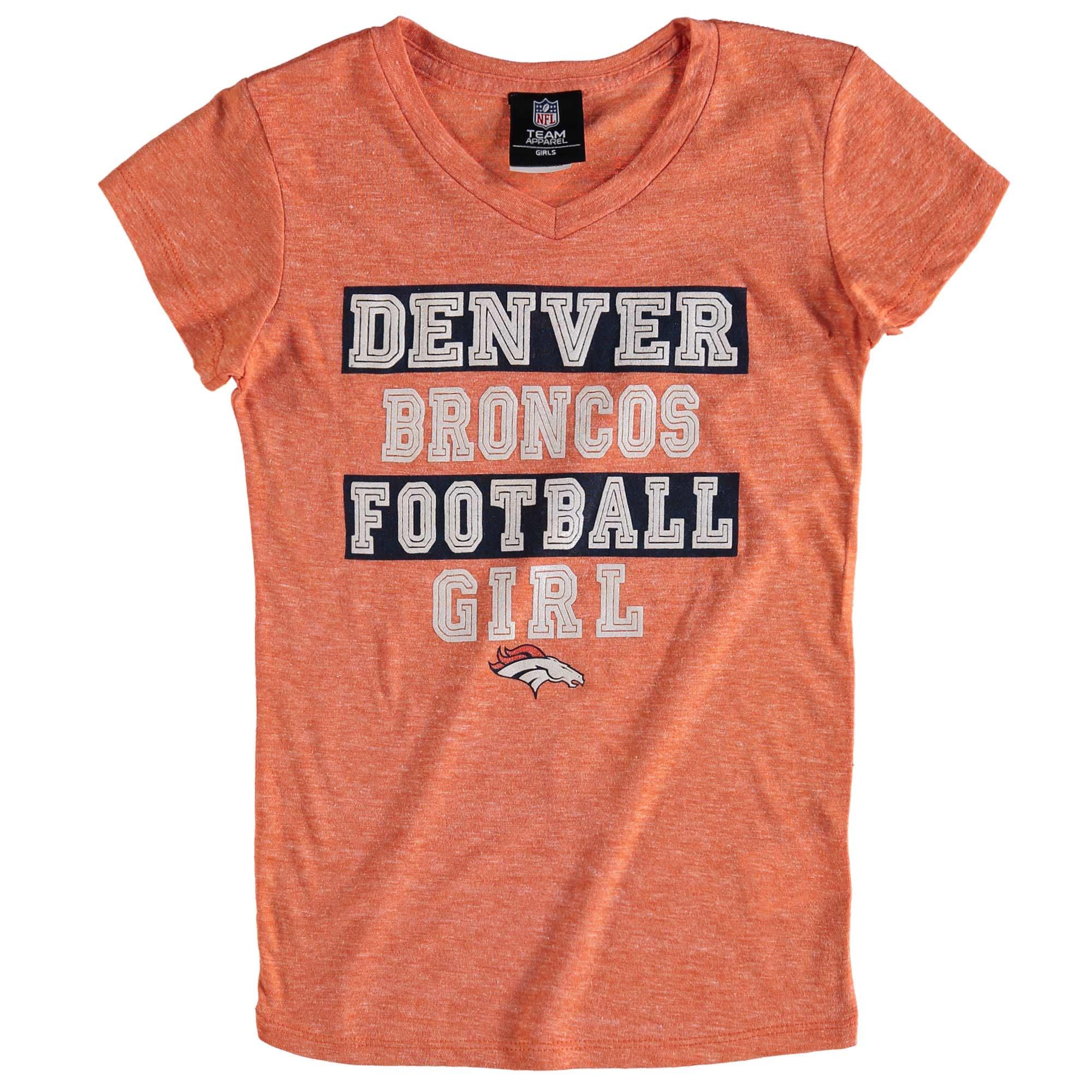Denver Broncos 5th & Ocean by New Era Girls Youth Football Girl Tri-Blend V-Neck T-Shirt - Orange