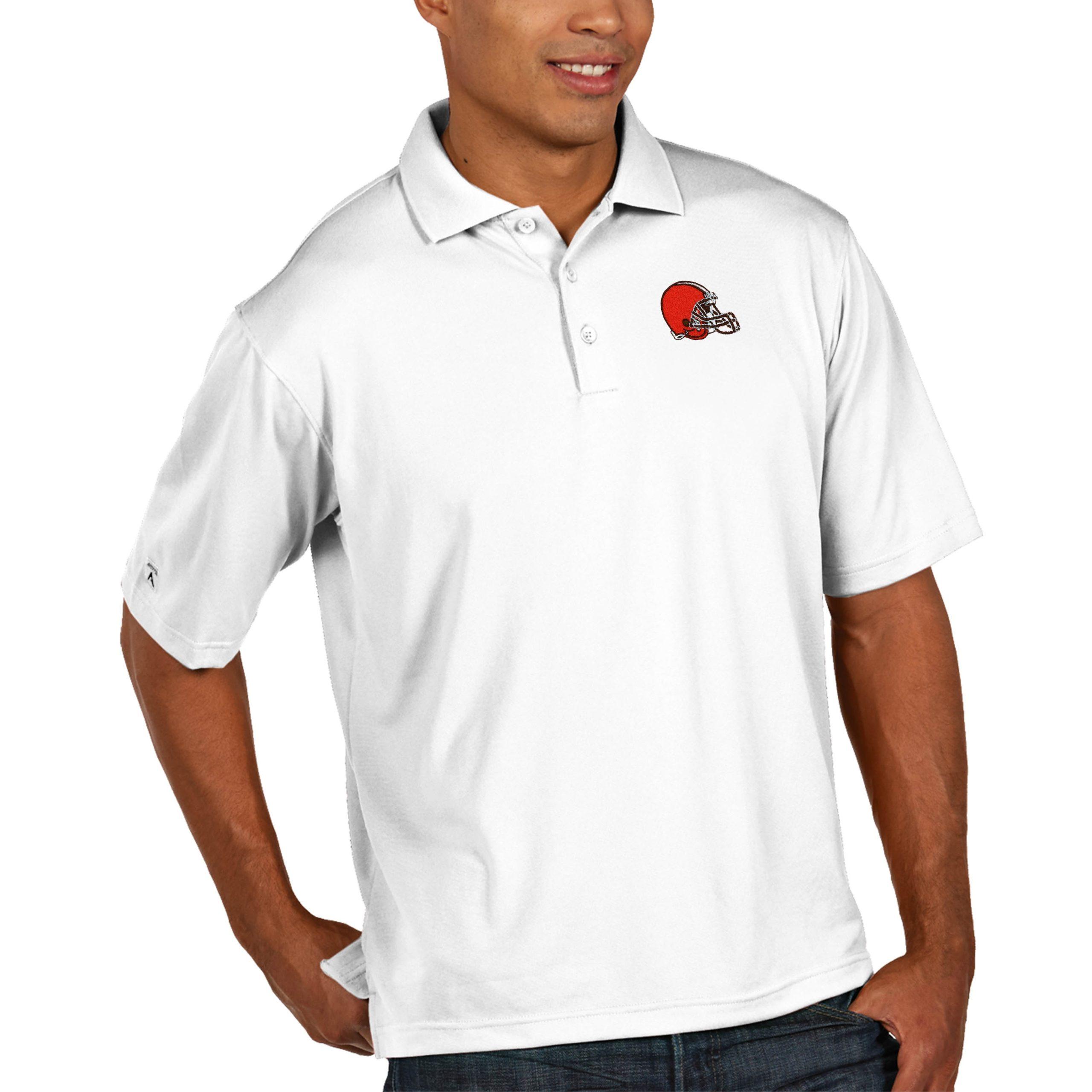Cleveland Browns Antigua Pique Xtra Lite Big & Tall Polo - White
