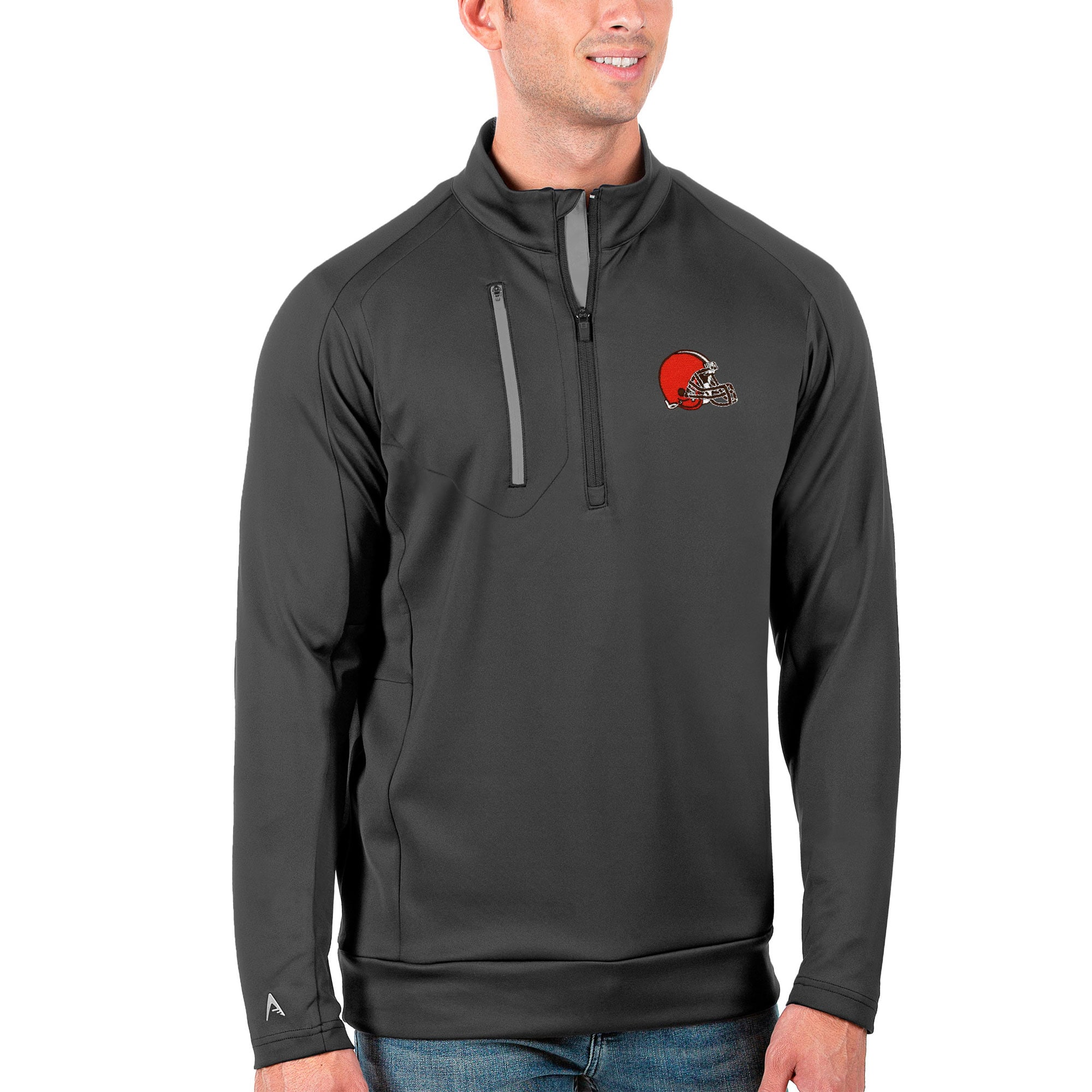 Cleveland Browns Antigua Generation Quarter-Zip Pullover Jacket - Charcoal/Silver