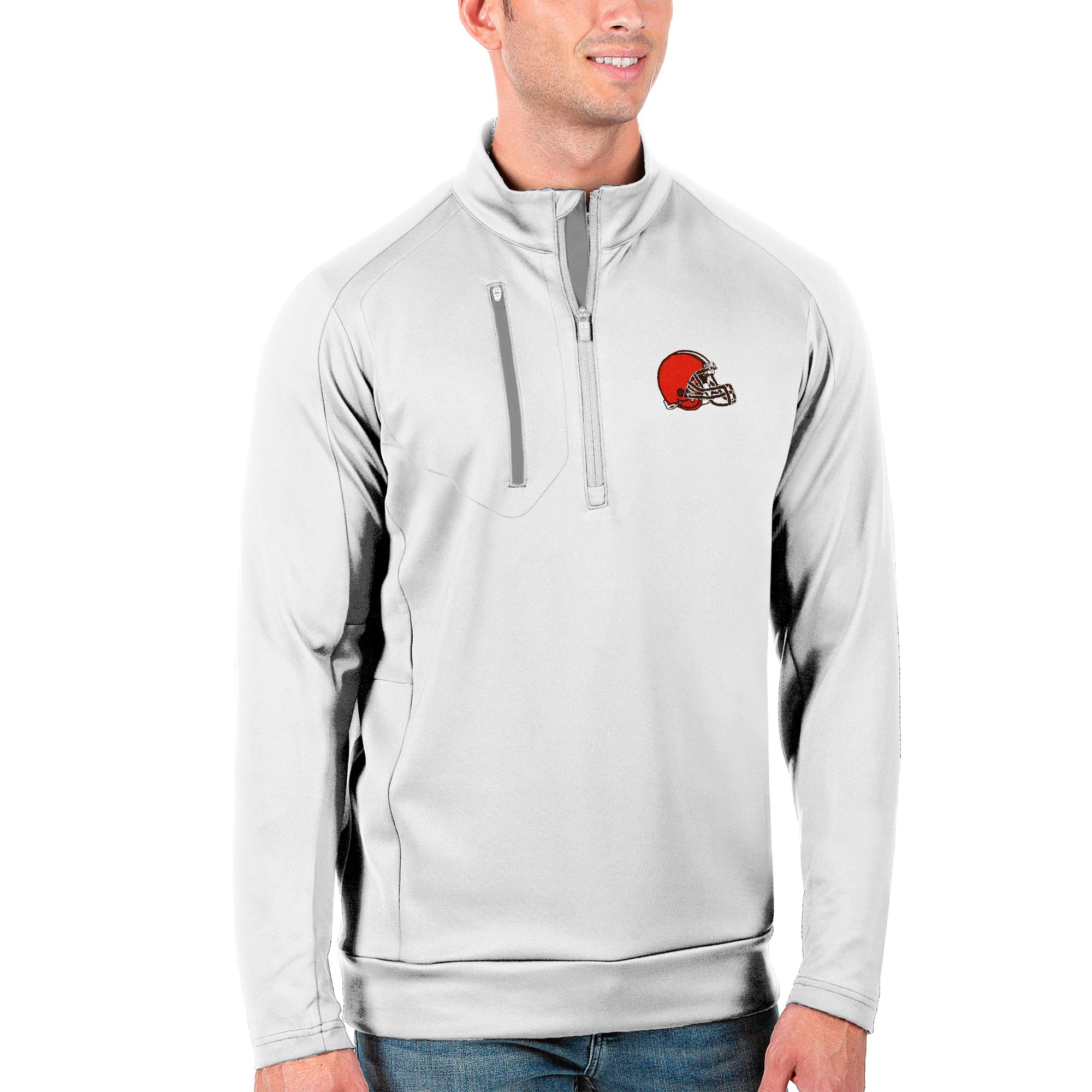 Cleveland Browns Antigua Generation Quarter-Zip Pullover Jacket - White/Silver