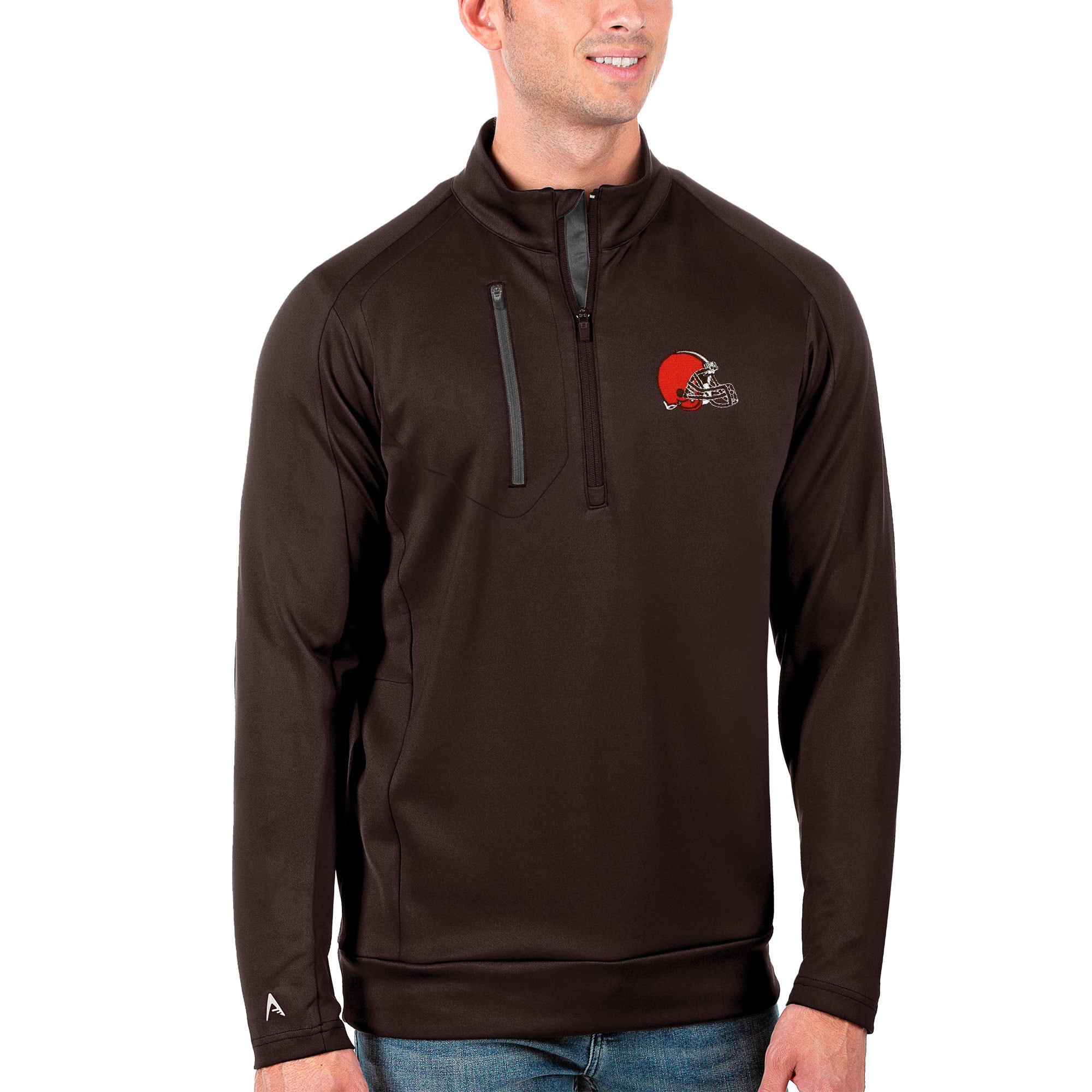 Cleveland Browns Antigua Generation Quarter-Zip Pullover Jacket - Brown/Charcoal