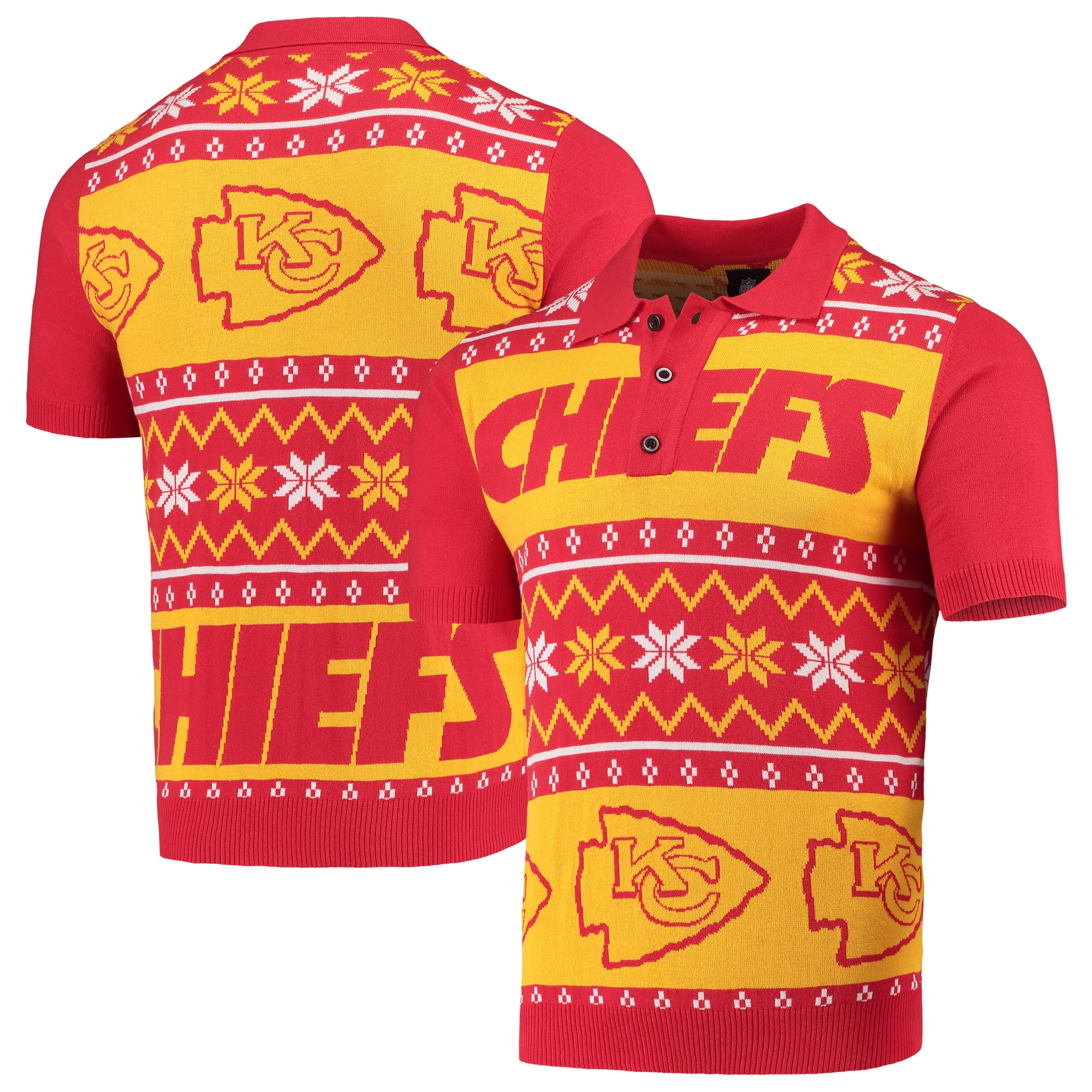 Kansas City Chiefs Ugly Sweater Knit Polo - Red/Yellow