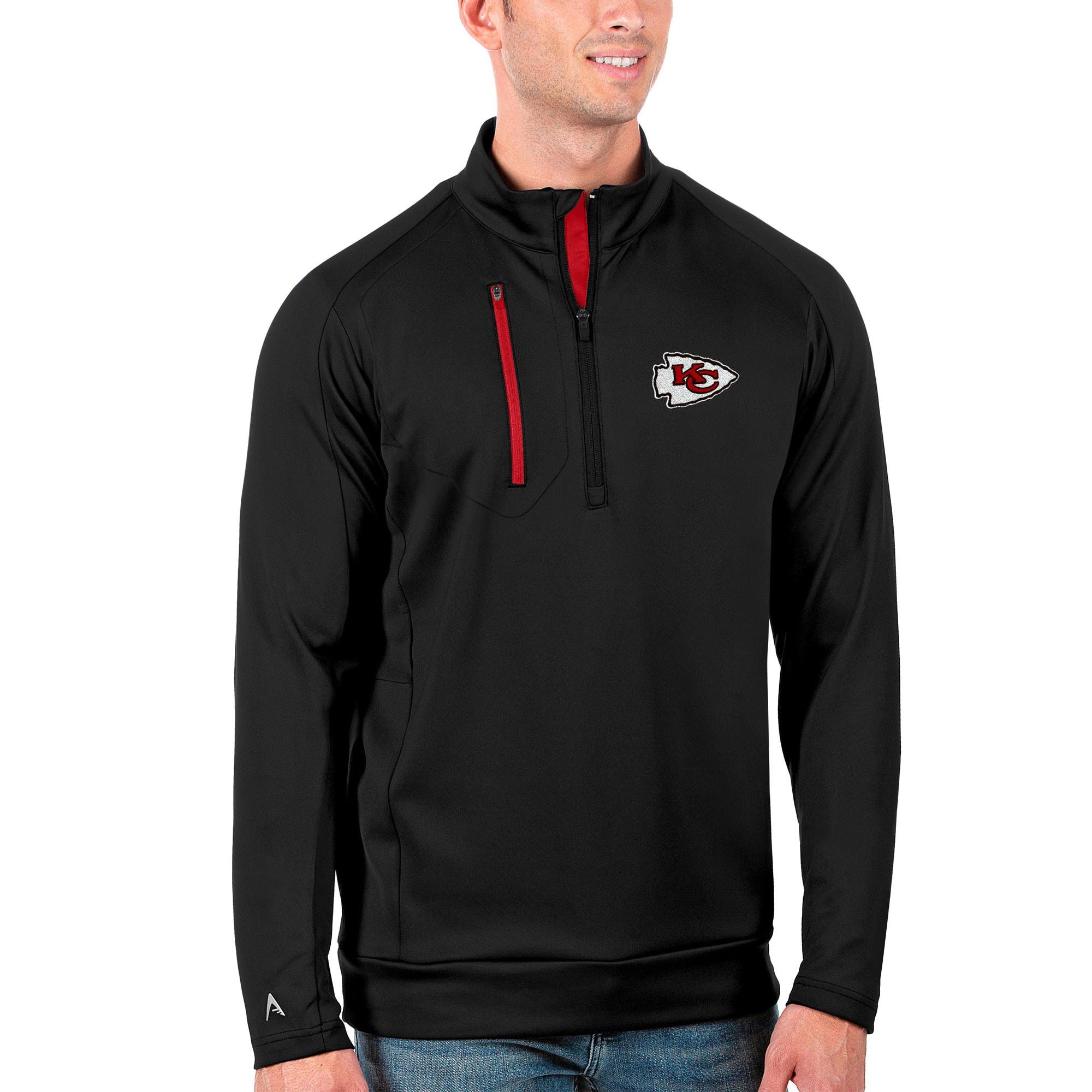 Kansas City Chiefs Antigua Generation Quarter-Zip Pullover Jacket - Black/Red