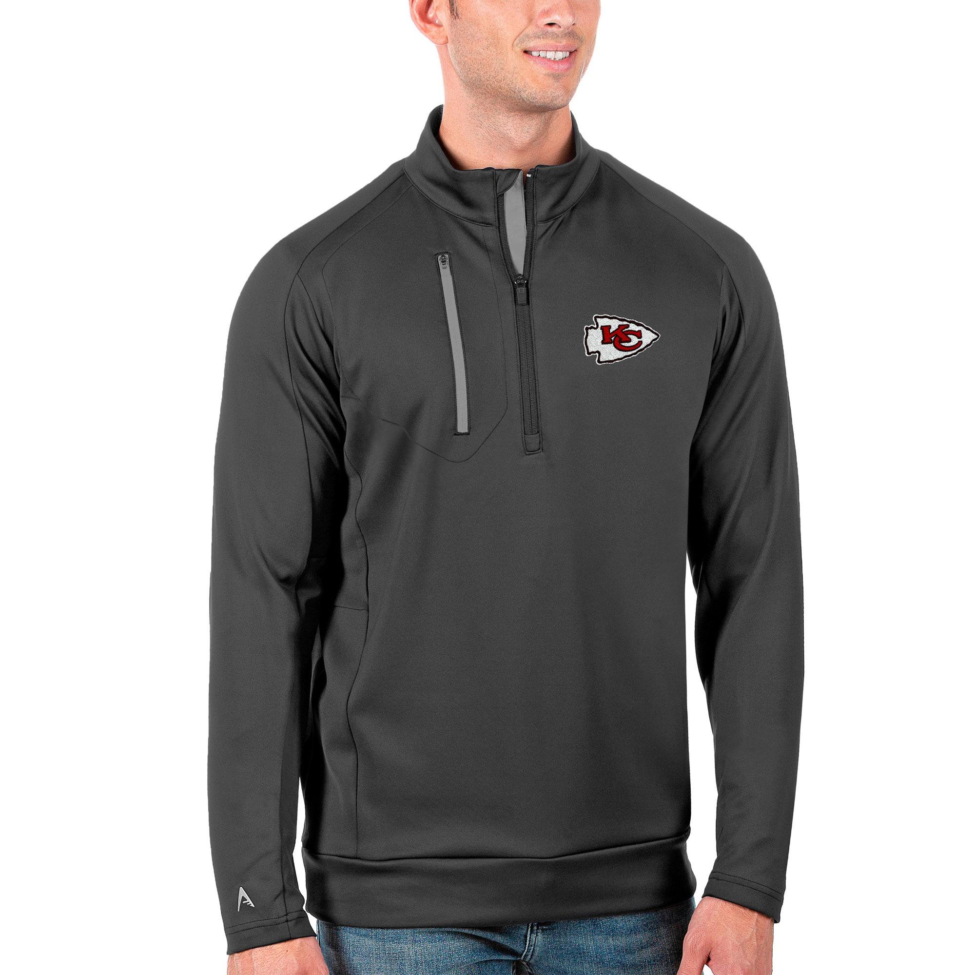 Kansas City Chiefs Antigua Generation Quarter-Zip Pullover Jacket - Charcoal/Silver