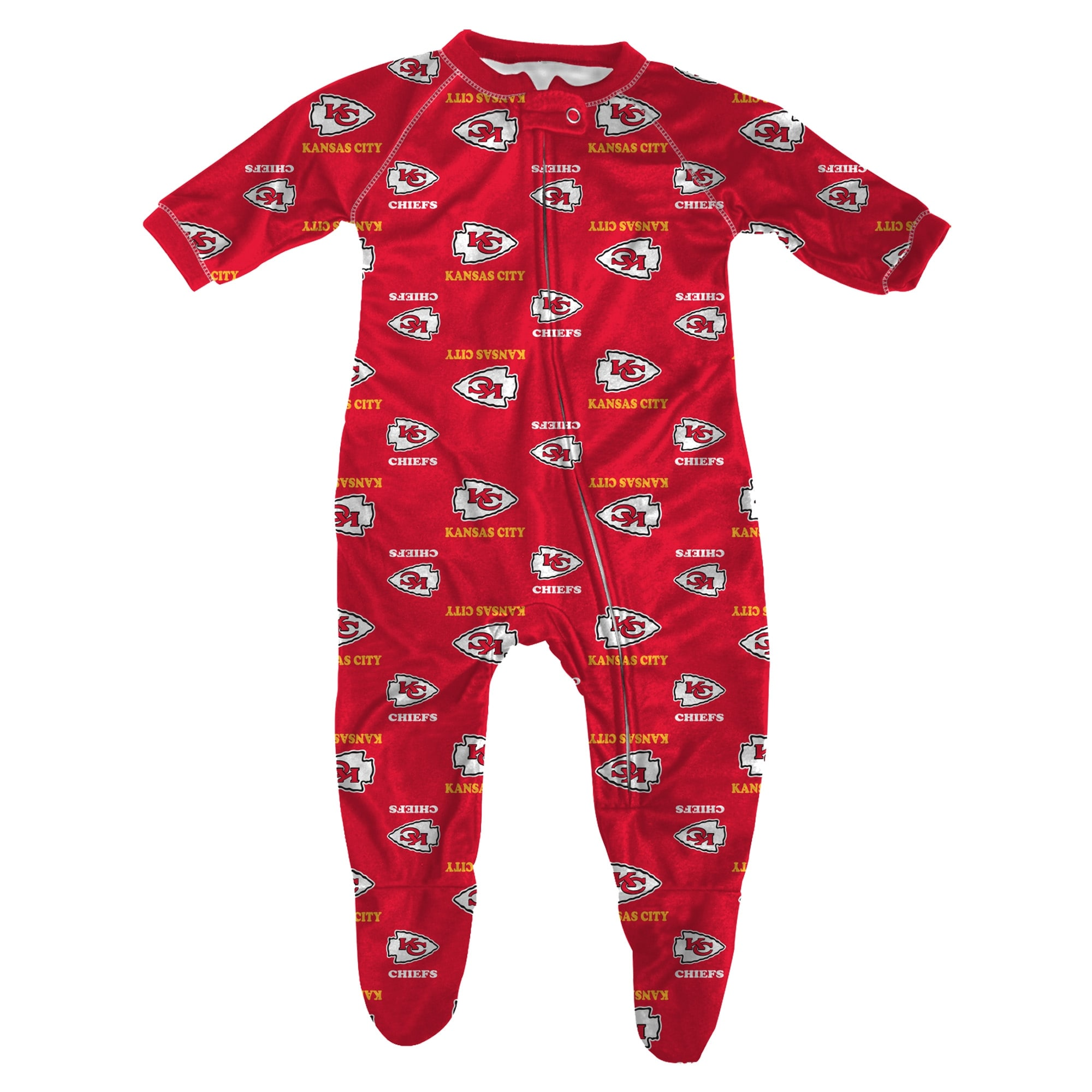 Kansas City Chiefs Infant Piped Raglan Full Zip Sleeper - Red
