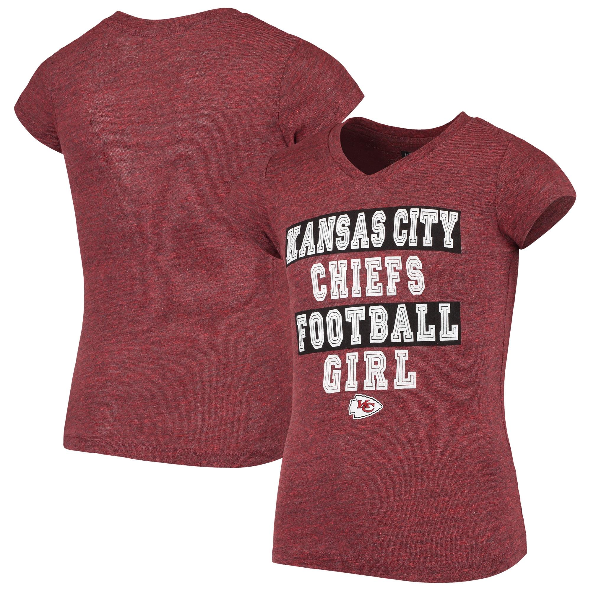 Kansas City Chiefs 5th & Ocean by New Era Girls Youth Football Girl Tri-Blend V-Neck T-Shirt - Red