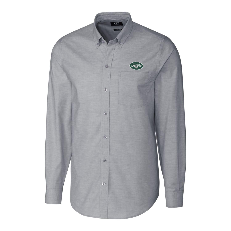 New York Jets Cutter & Buck Big & Tall Logo Stretch Oxford Woven Button-Down Long Sleeve Shirt - Charcoal