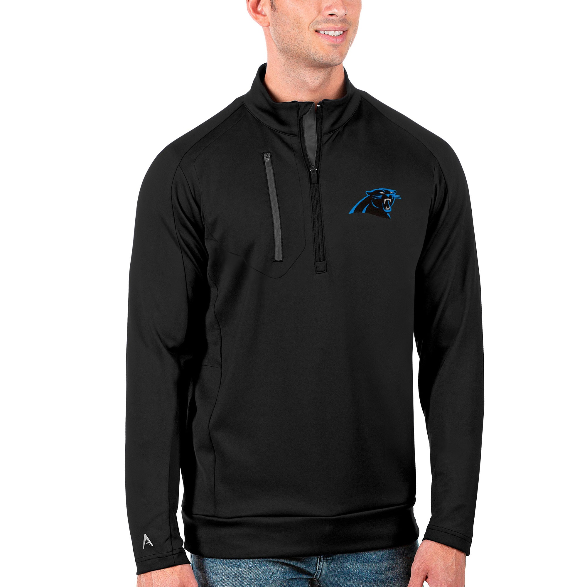 Carolina Panthers Antigua Generation Quarter-Zip Pullover Jacket - Black/Charcoal