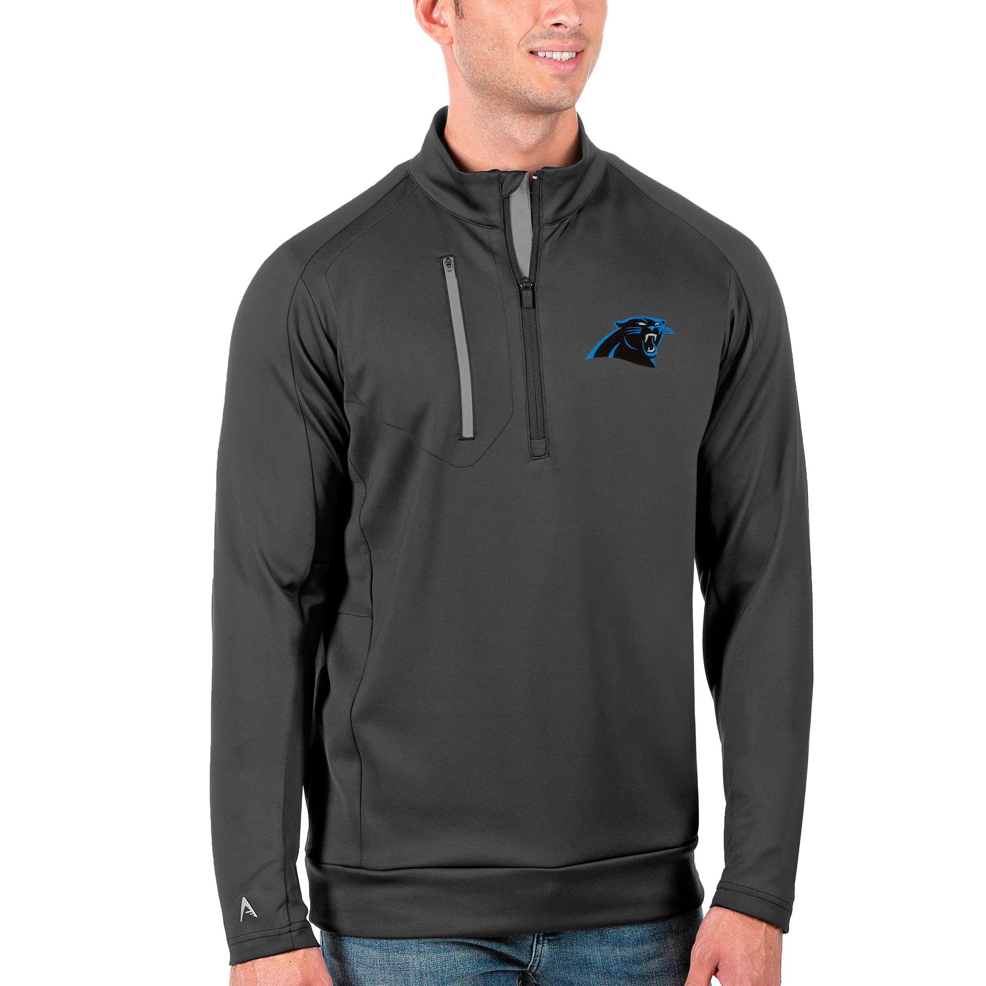Carolina Panthers Antigua Generation Quarter-Zip Pullover Jacket - Charcoal/Silver
