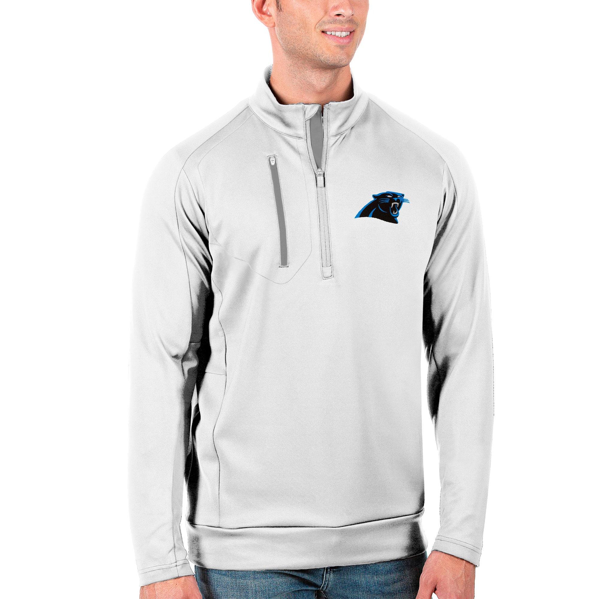 Carolina Panthers Antigua Generation Quarter-Zip Pullover Jacket - White/Silver