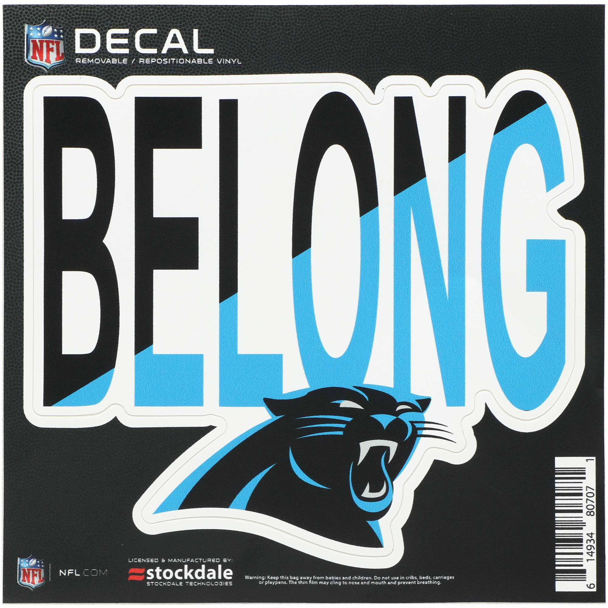 """Carolina Panthers 6"""" x 6"""" Full Color Xpression Repositionable Decal"""