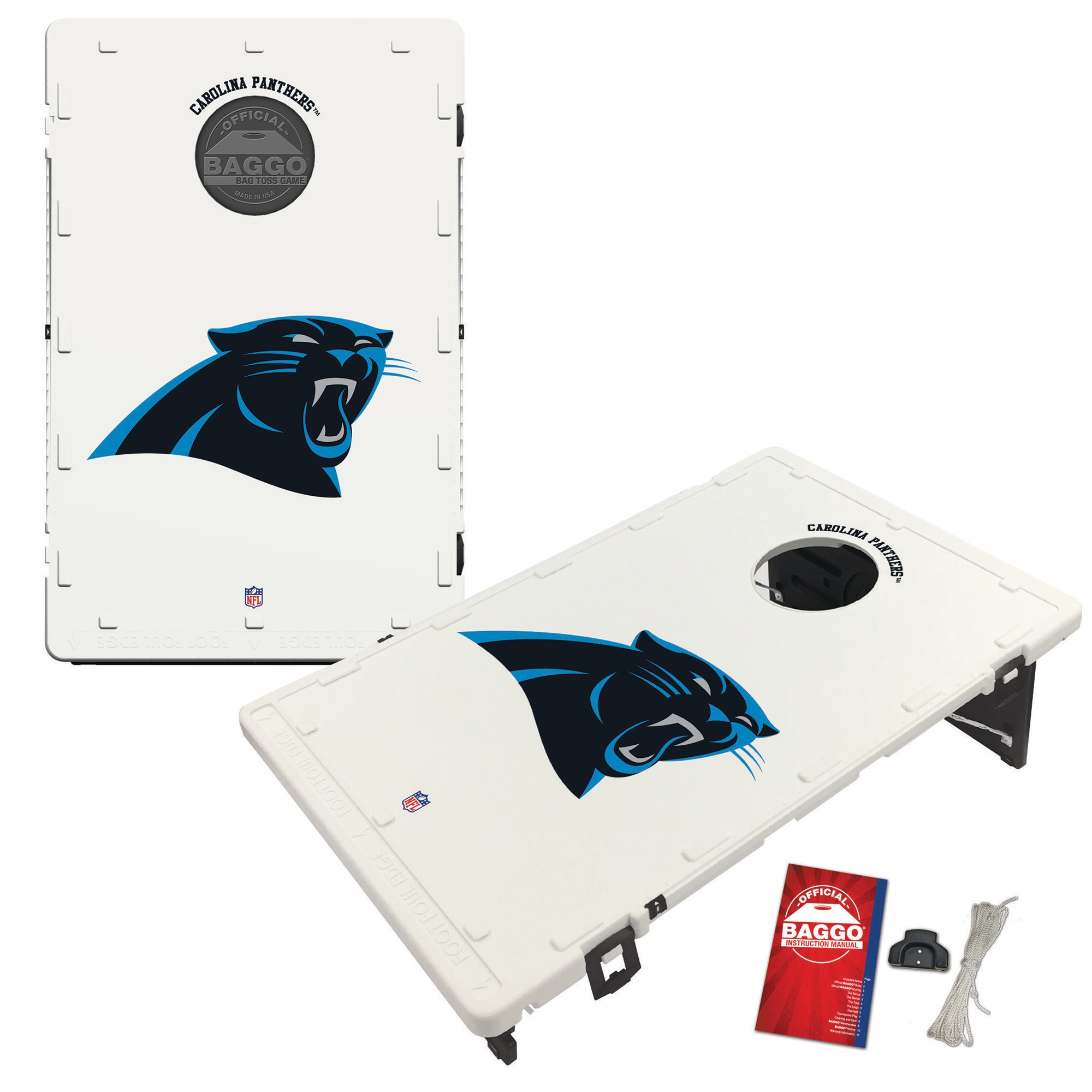 Carolina Panthers 2' x 3' Classic Design BAGGO Cornhole Board Tailgate Toss Set