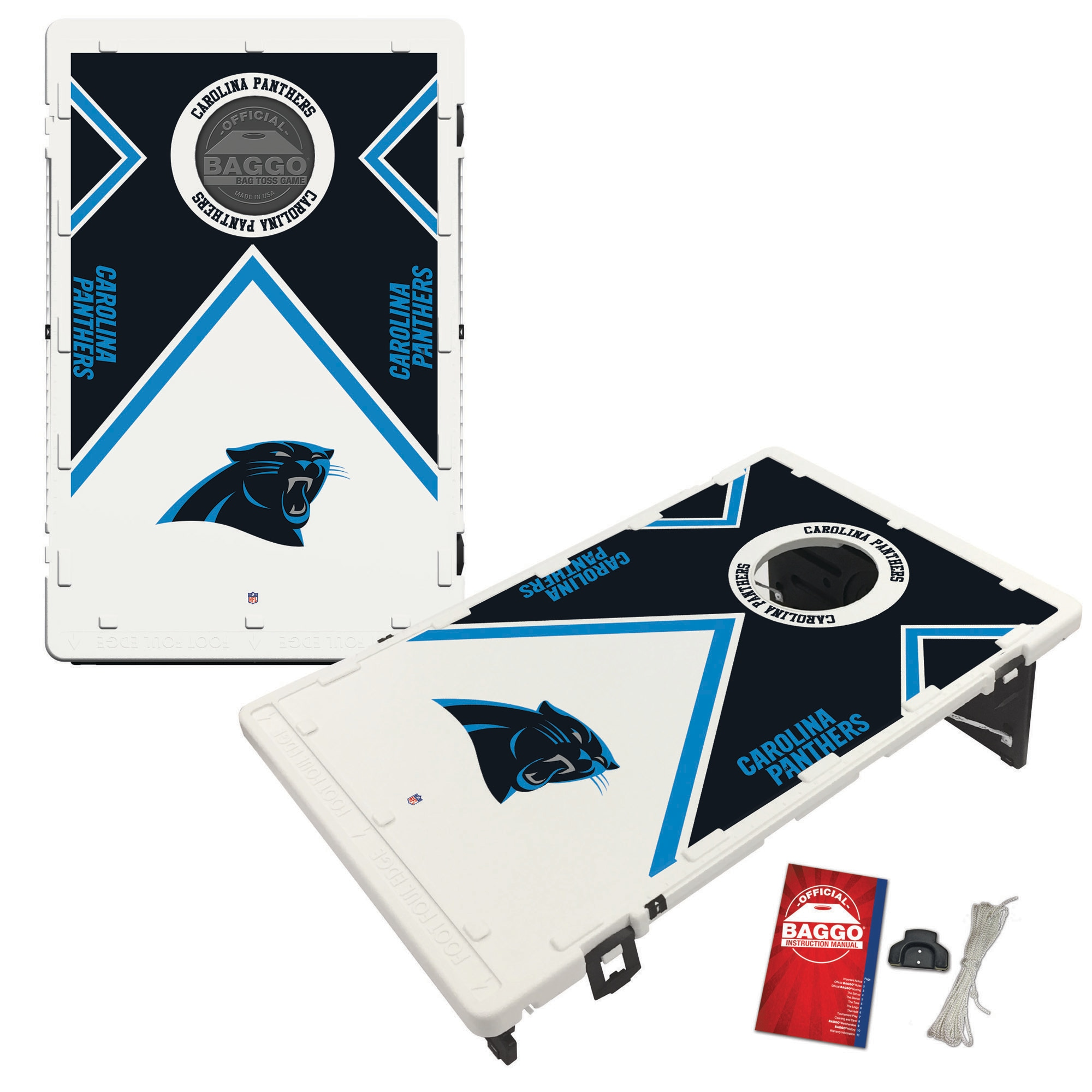 Carolina Panthers 2' x 3' BAGGO Vintage Cornhole Board Tailgate Toss Set