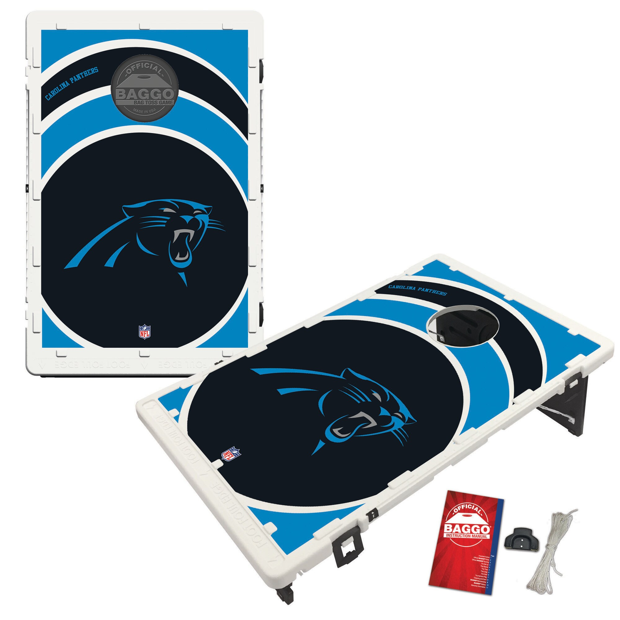 Carolina Panthers 2' x 3' BAGGO Vortex Cornhole Board Tailgate Toss Set
