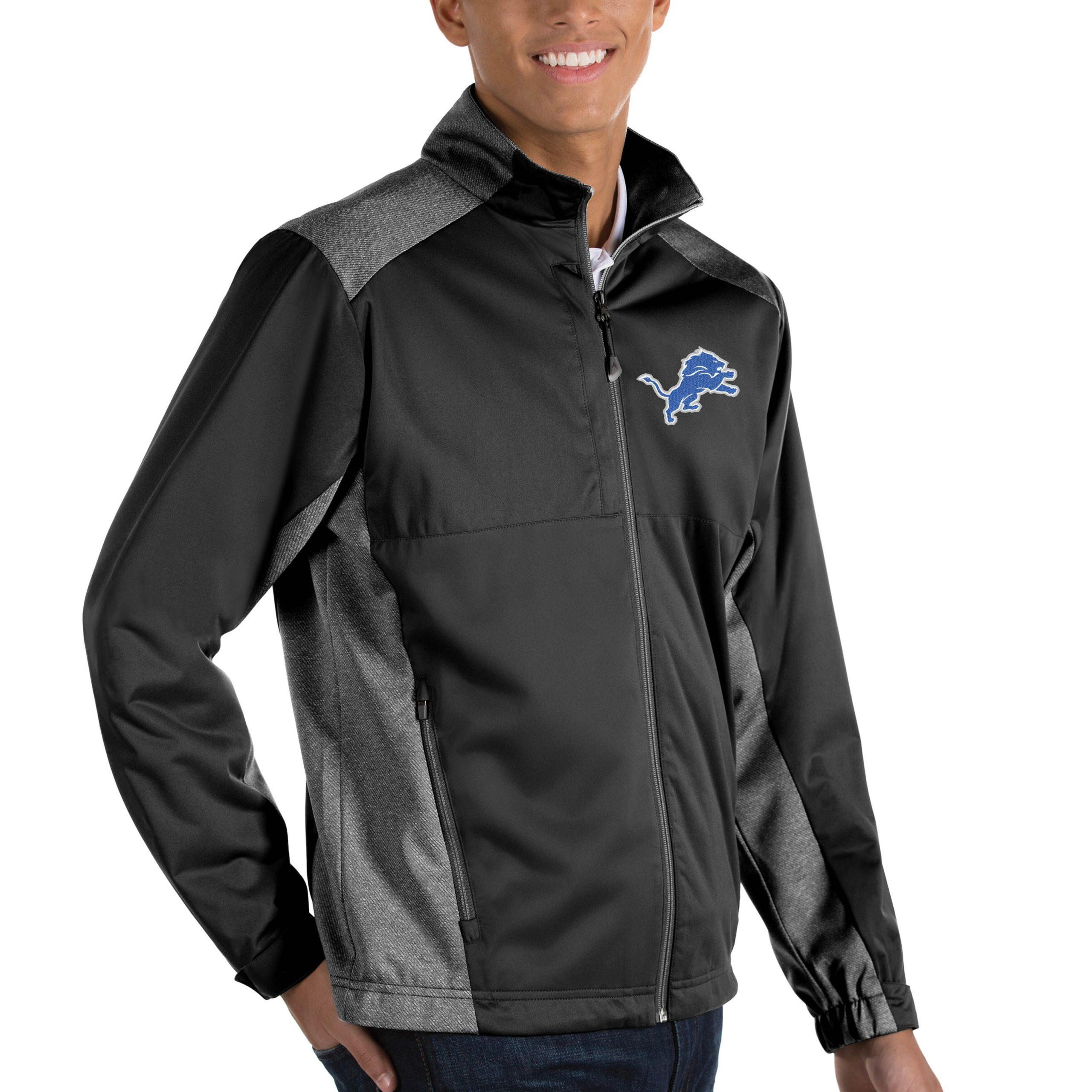 Detroit Lions Antigua Revolve Big & Tall Full-Zip Jacket - Heather Black