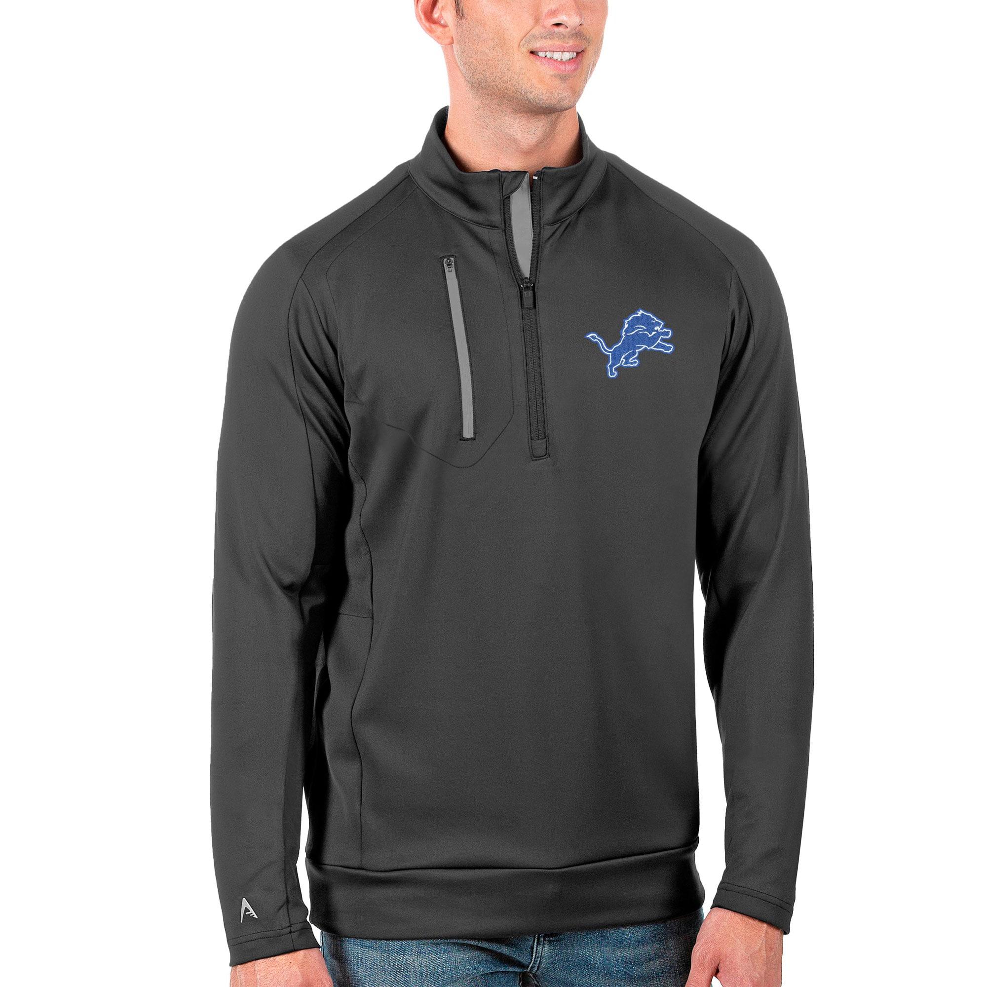 Detroit Lions Antigua Generation Quarter-Zip Pullover Jacket - Charcoal/Silver