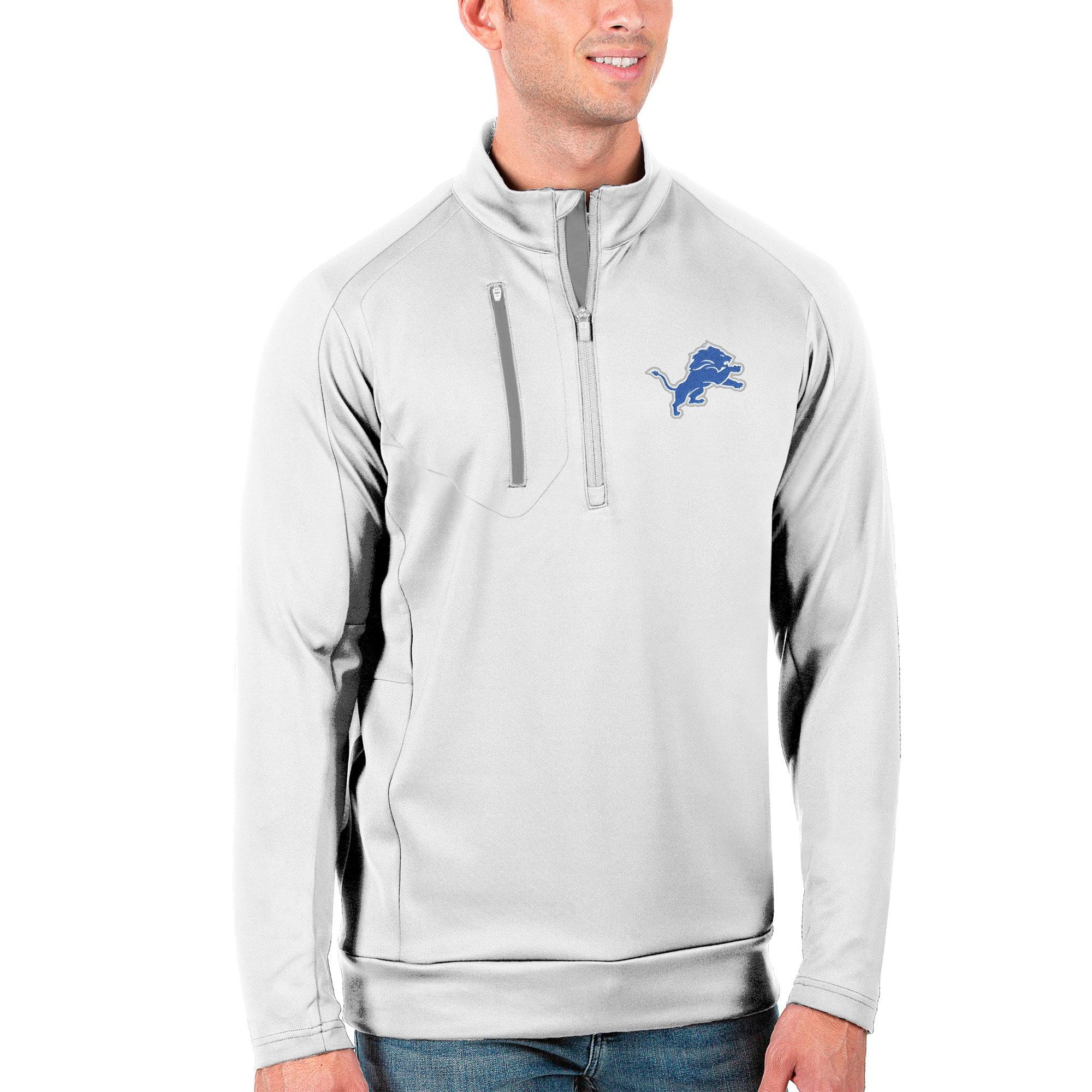 Detroit Lions Antigua Generation Quarter-Zip Pullover Jacket - White/Silver