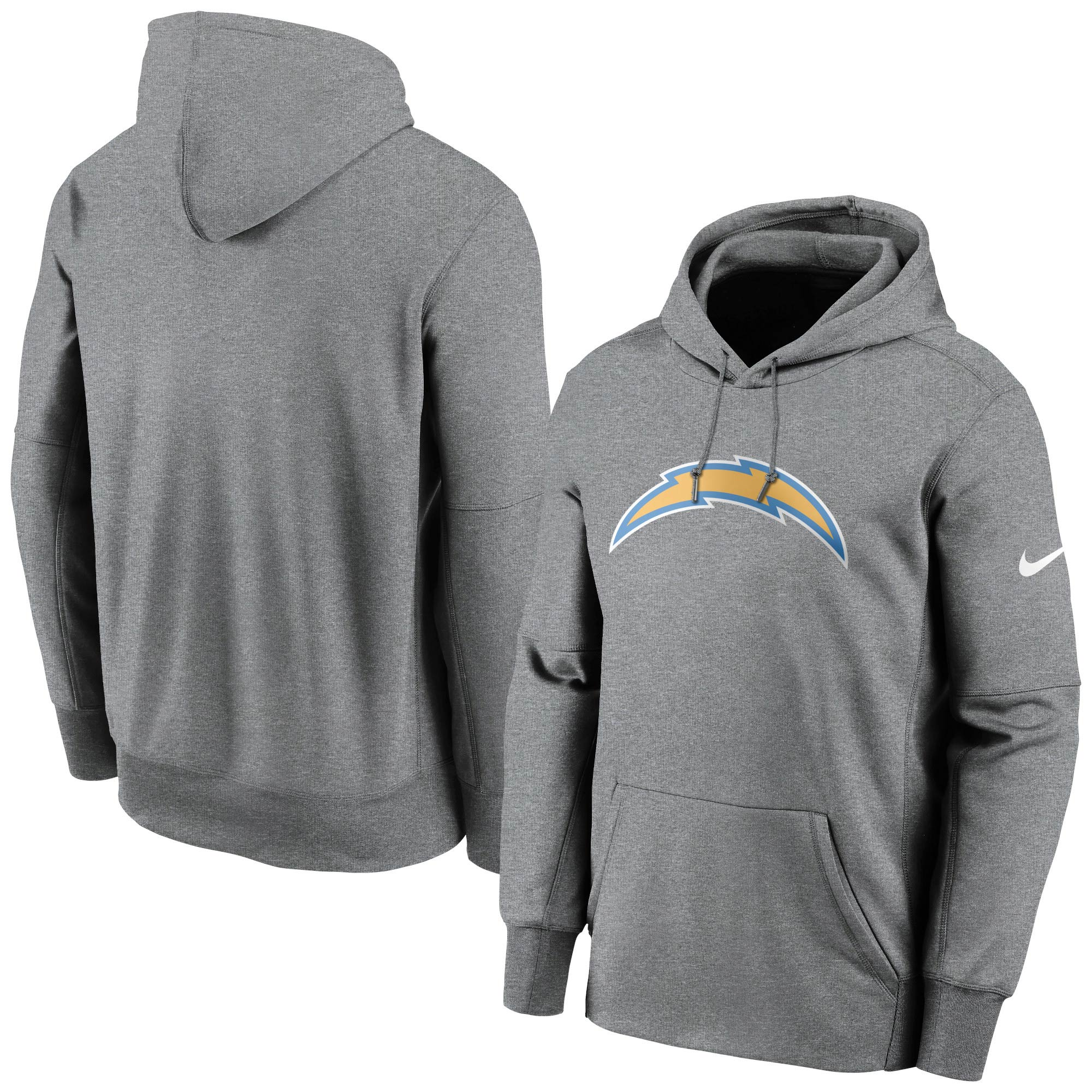 Los Angeles Chargers Nike Fan Gear Primary Logo Therma Performance Pullover Hoodie - Heathered Charcoal