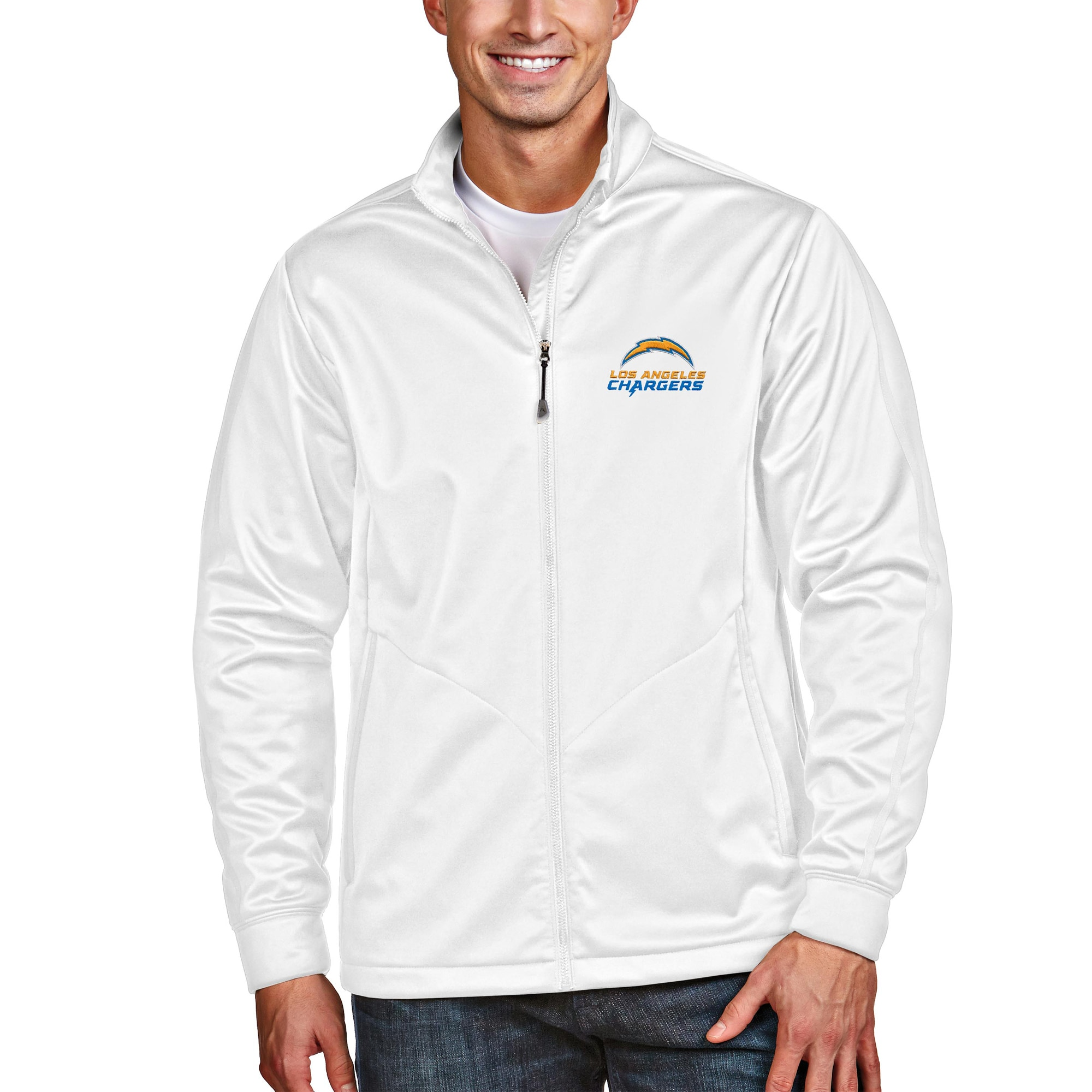 Los Angeles Chargers Antigua Full-Zip Golf Jacket - White