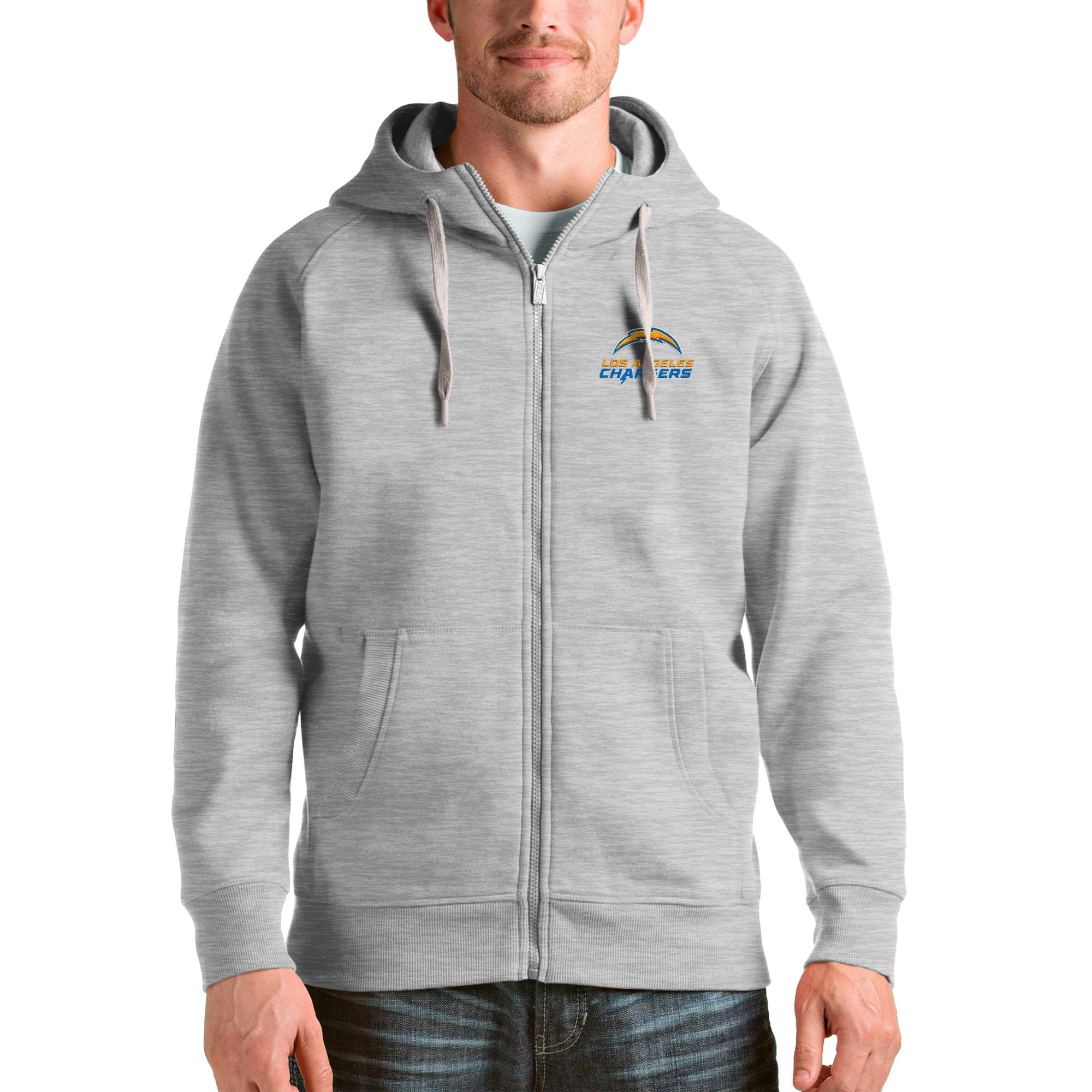 Los Angeles Chargers Antigua Victory Full-Zip Hoodie - Heather Gray