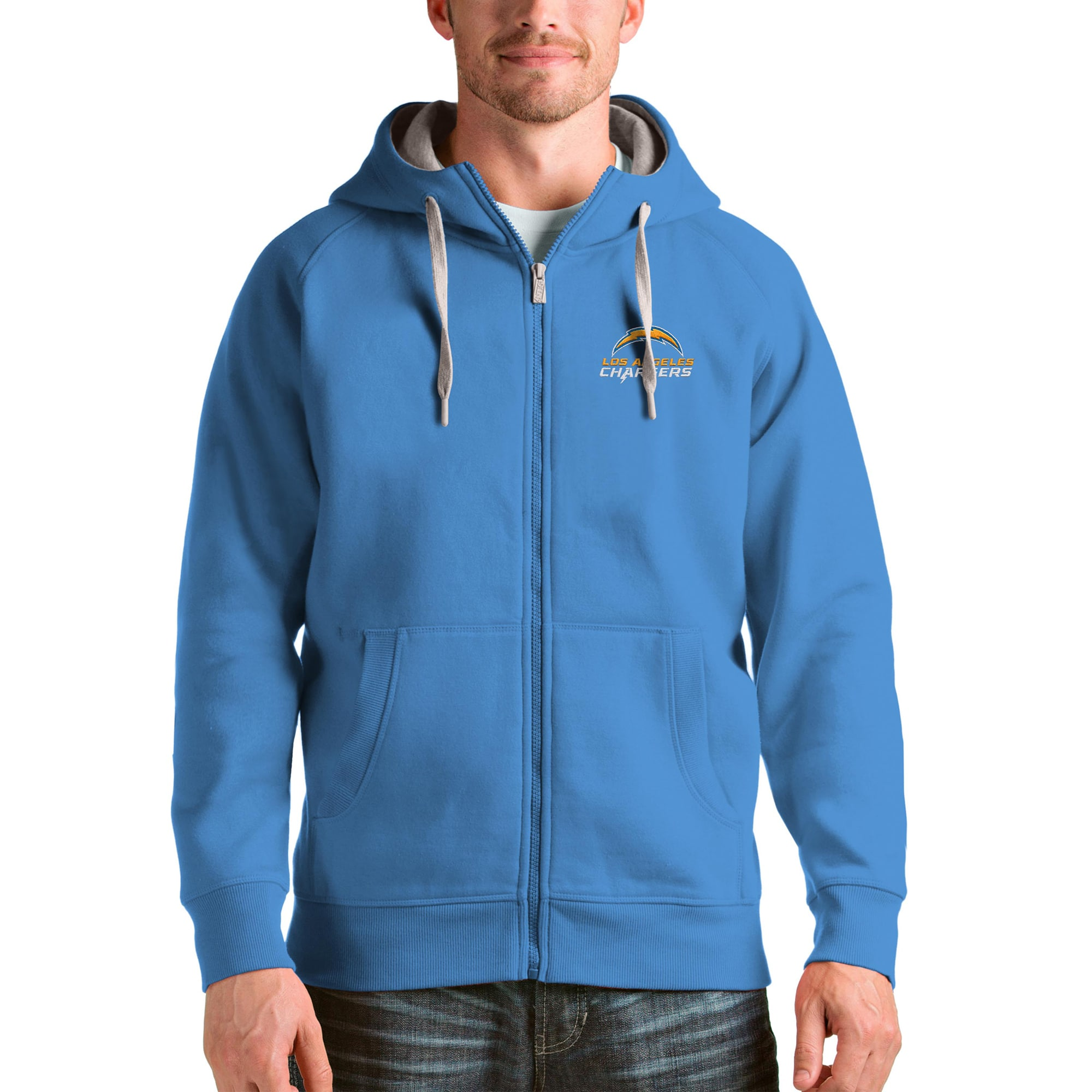 Los Angeles Chargers Antigua Victory Full-Zip Hoodie - Powder Blue