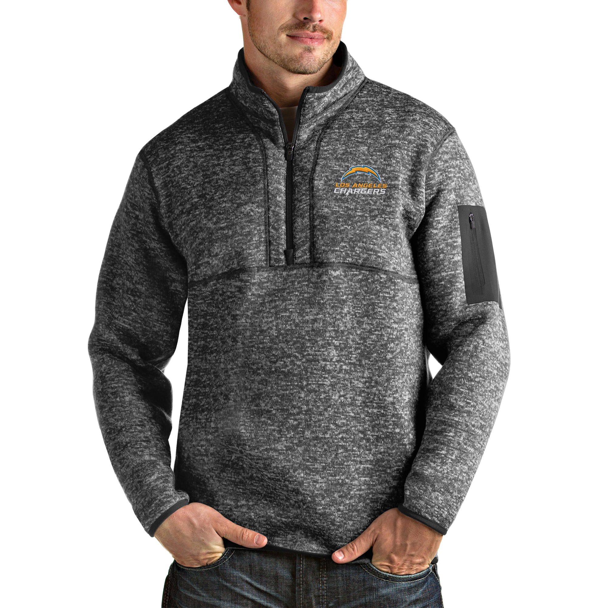 Los Angeles Chargers Antigua Fortune Quarter-Zip Pullover Jacket - Heather Charcoal