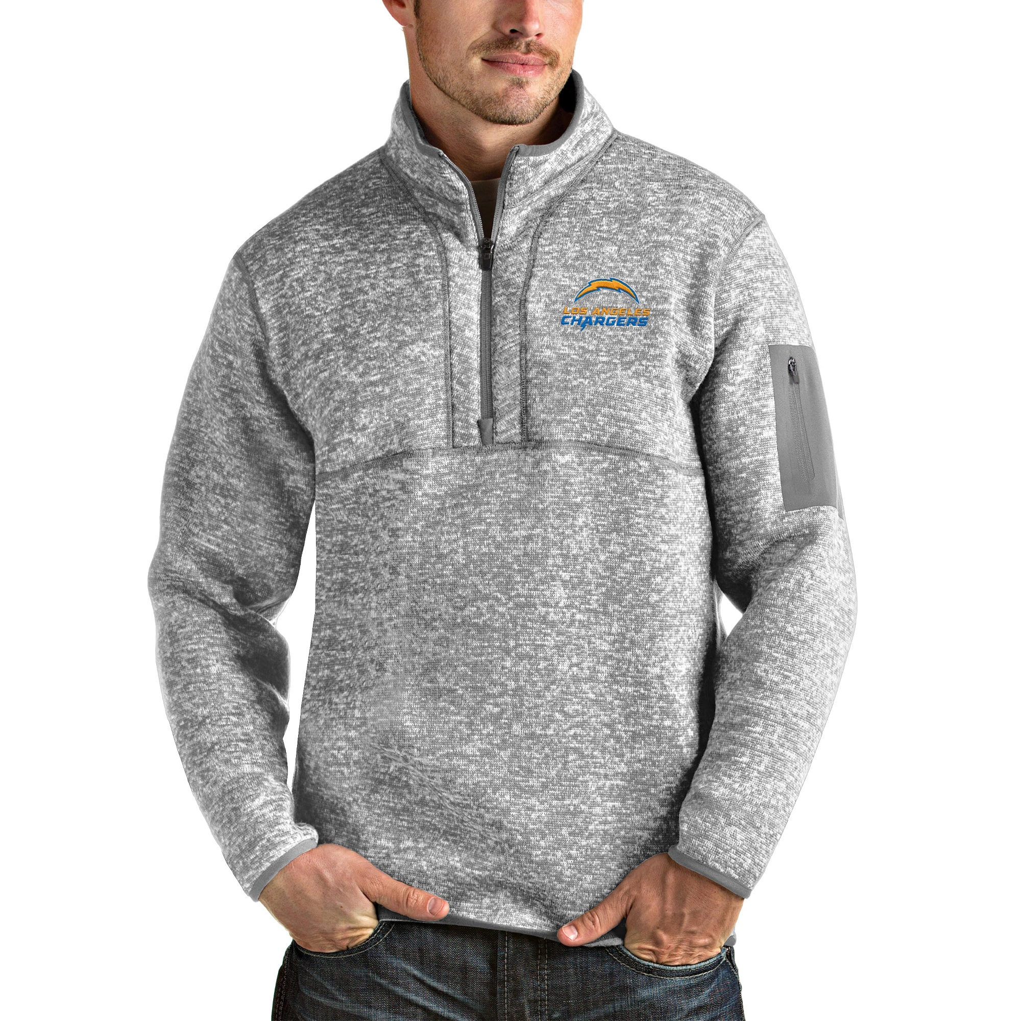 Los Angeles Chargers Antigua Fortune Quarter-Zip Pullover Jacket - Heather Gray