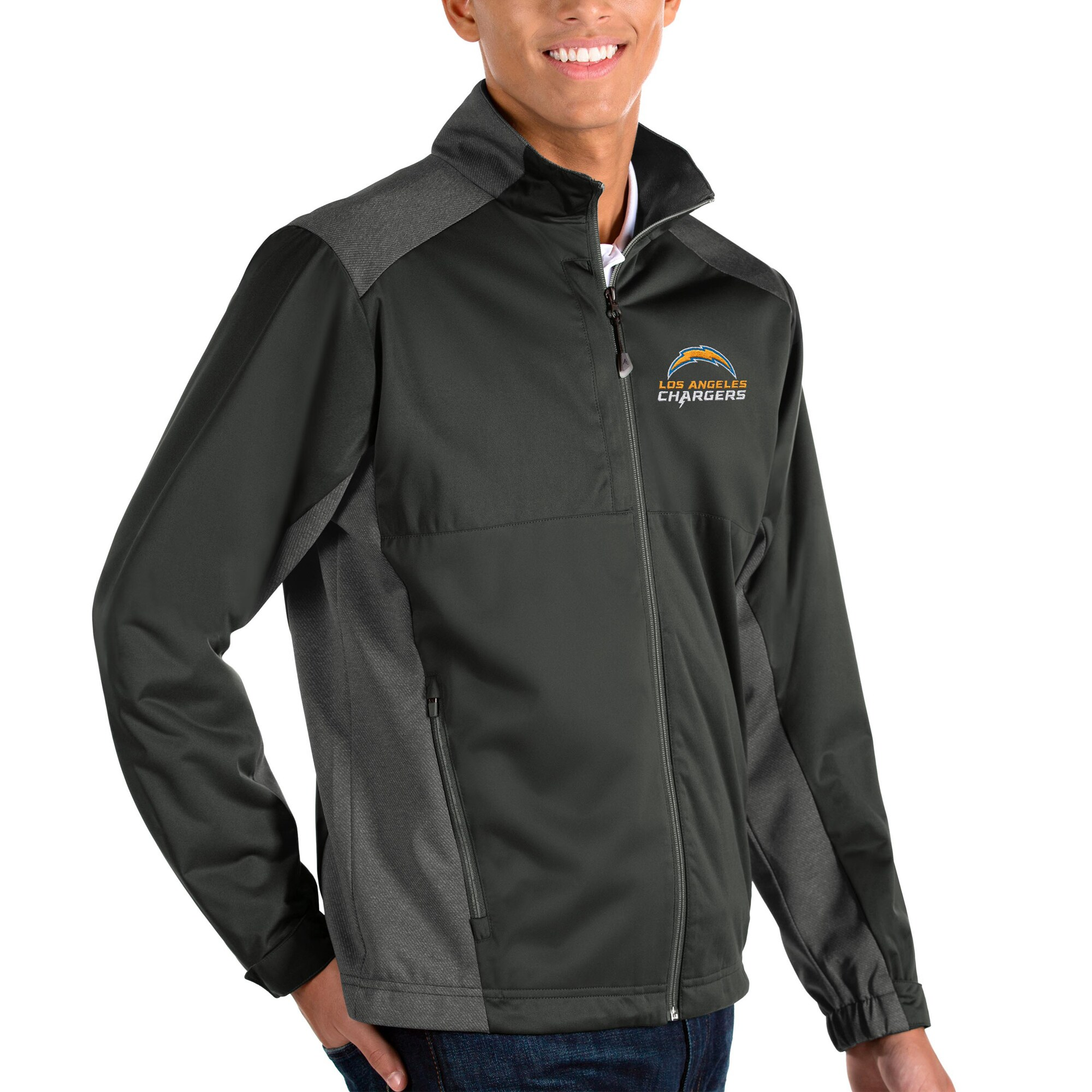 Los Angeles Chargers Antigua Revolve Full-Zip Jacket - Charcoal/Heather Charcoal