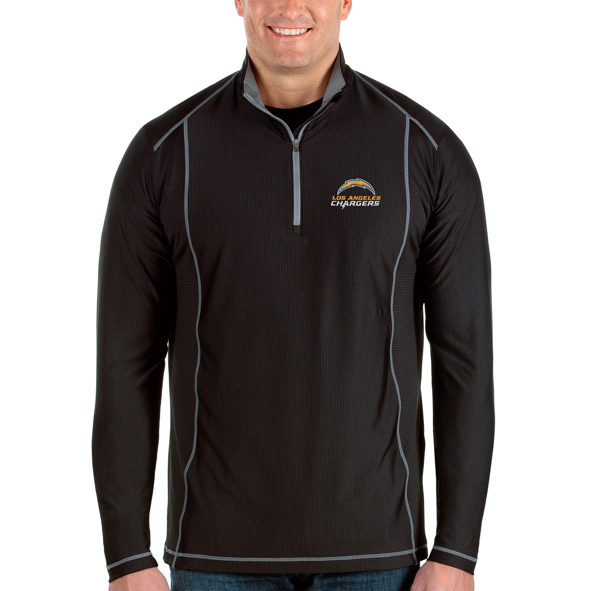 Los Angeles Chargers Antigua Big & Tall Tempo Half-Zip Pullover Jacket - Black/Steel