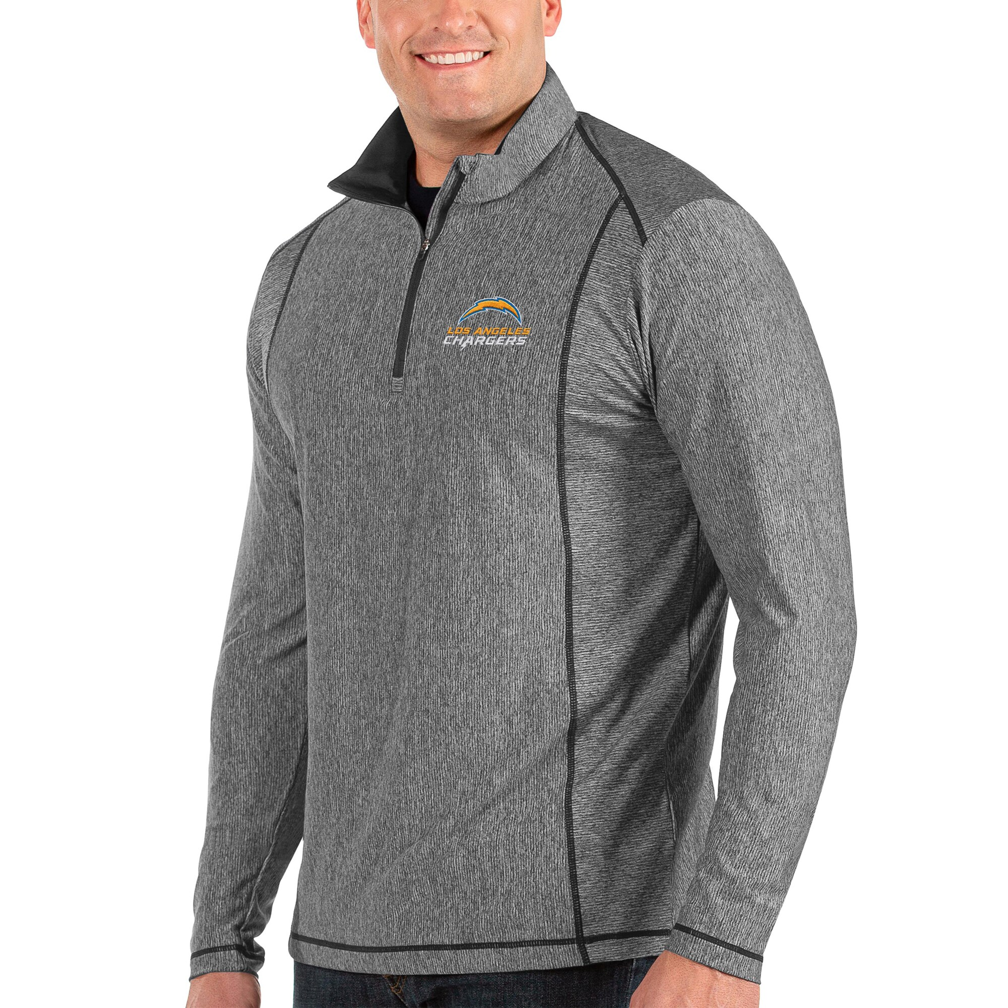 Los Angeles Chargers Antigua Big & Tall Tempo Half-Zip Pullover Jacket - Heather Charcoal